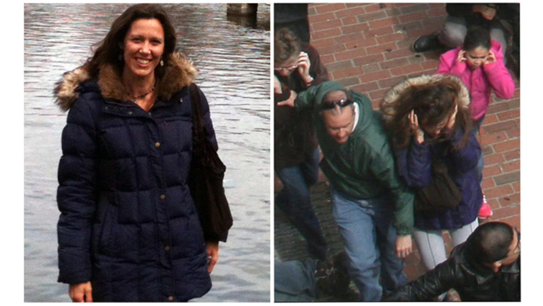 This combination photos shows, left, Amy Berti, in a photo taken by her husband, Joe Bertie in Boston, on Sunday, April 14, 2013, and right, an Associated Press file photo that shows Amy Berti, center, in the same coat, running from the first explosion at the finish line of the Boston Marathon on Monday, April 15, 2013.