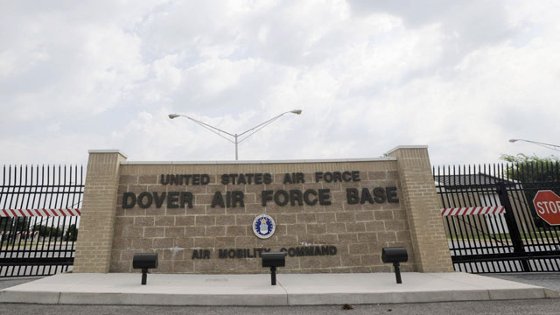 This Aug. 9, 2011, shows the closed gates at Dover Air Force Base, Del. The Pentagon revealed on Tuesday that some partial, incinerated remains of 9/11 victims that could not be identified were sent to a landfill.