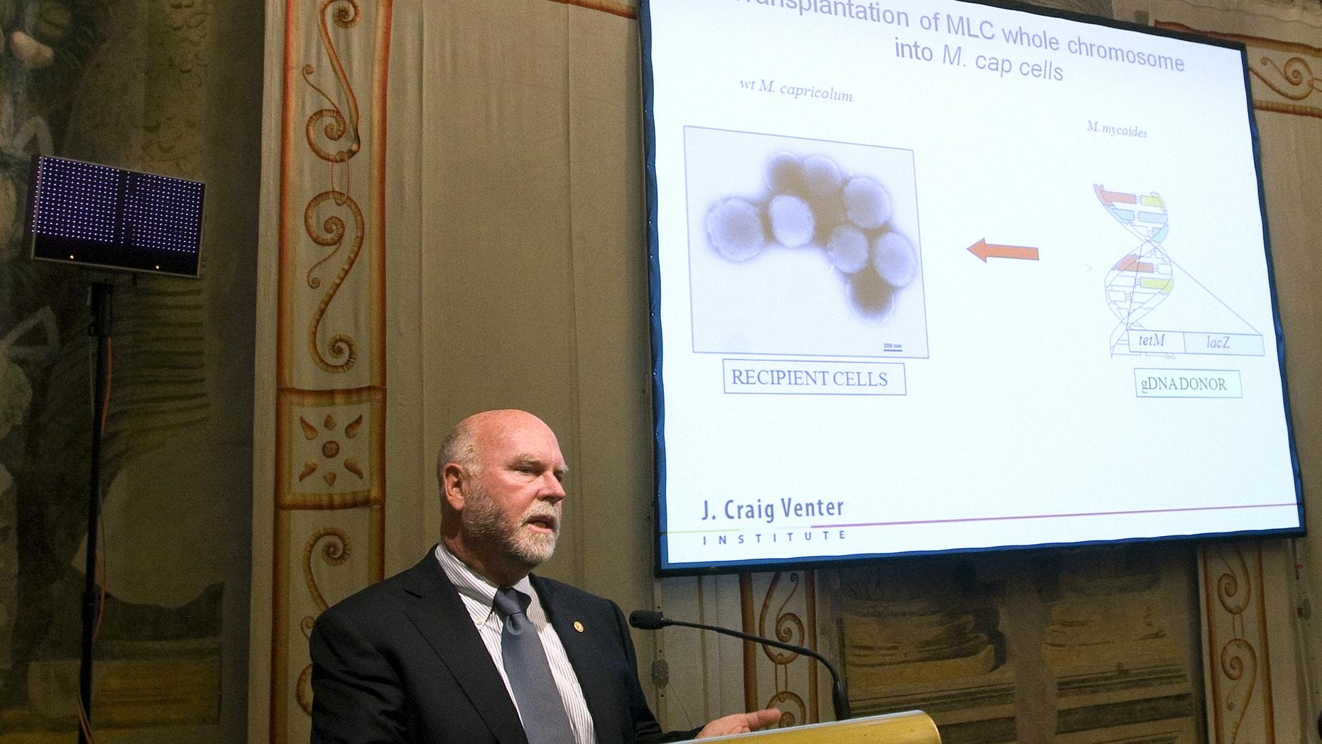 American biologist Dr. Craig Venter addresses a medical conference in Rome July 21, 2010.