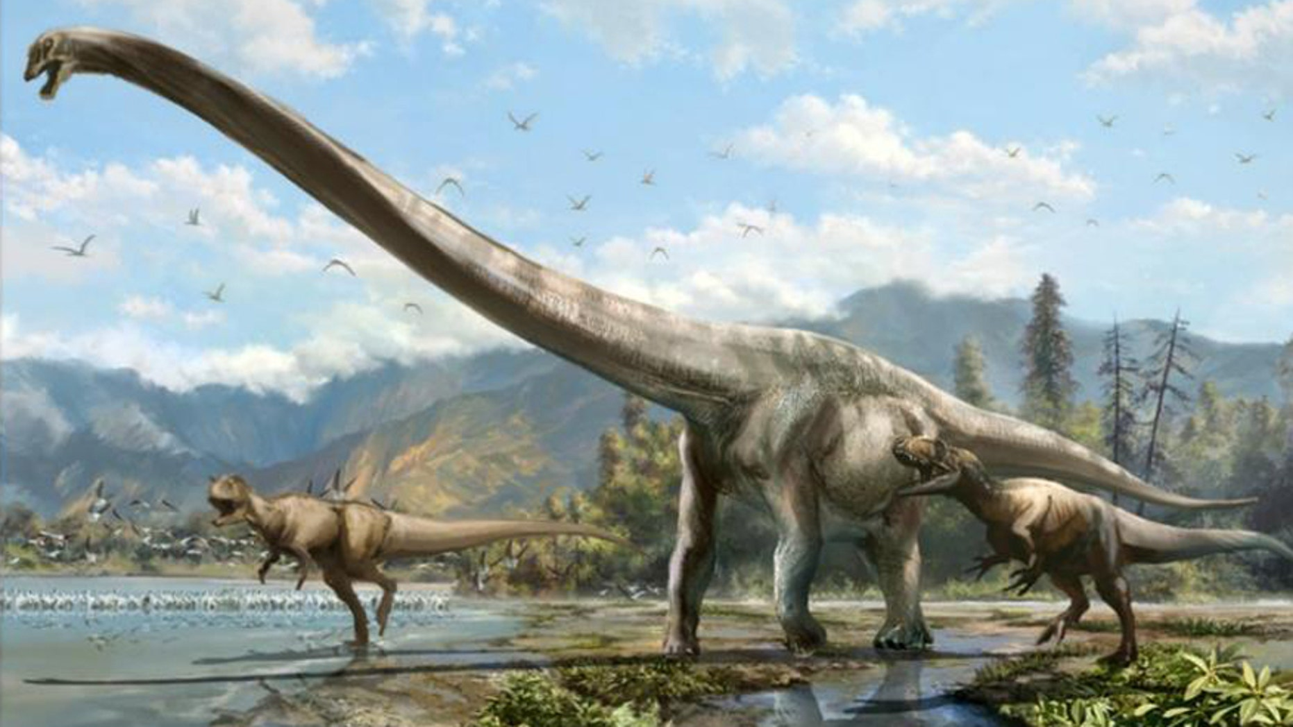 Artist's conception of Qijianglong, chased by two carnivorous dinosaurs in southern China 160 million years ago.