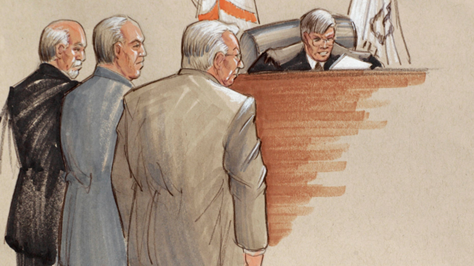 In this courtroom sketch, defense lawyers, Joel Brodsky, left, Steven Greenberg, and defendant Drew Peterson, right, stand before Presiding Judge Edward Burmila as he reads the verdict.