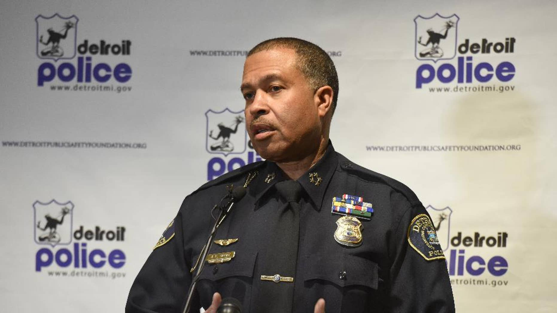 "Detroit Police Chief James Craig talks at a press conference at Detroit Police Headquarters in Detroit, Mich., Thursday, April 9, 2015, on the two suspended members of the Detroit Police Department, Lt. David ""Hater"" Hansberry and Officer Bryan ""Bullet"" Watson, who were indicted Wednesday and accused of robbing and extorting people.  The allegations undermine the public's trust, Craig said, in a city that is emerging from a years-long public corruption investigation.  (AP Photo/Detroit News, Daniel Mears)"