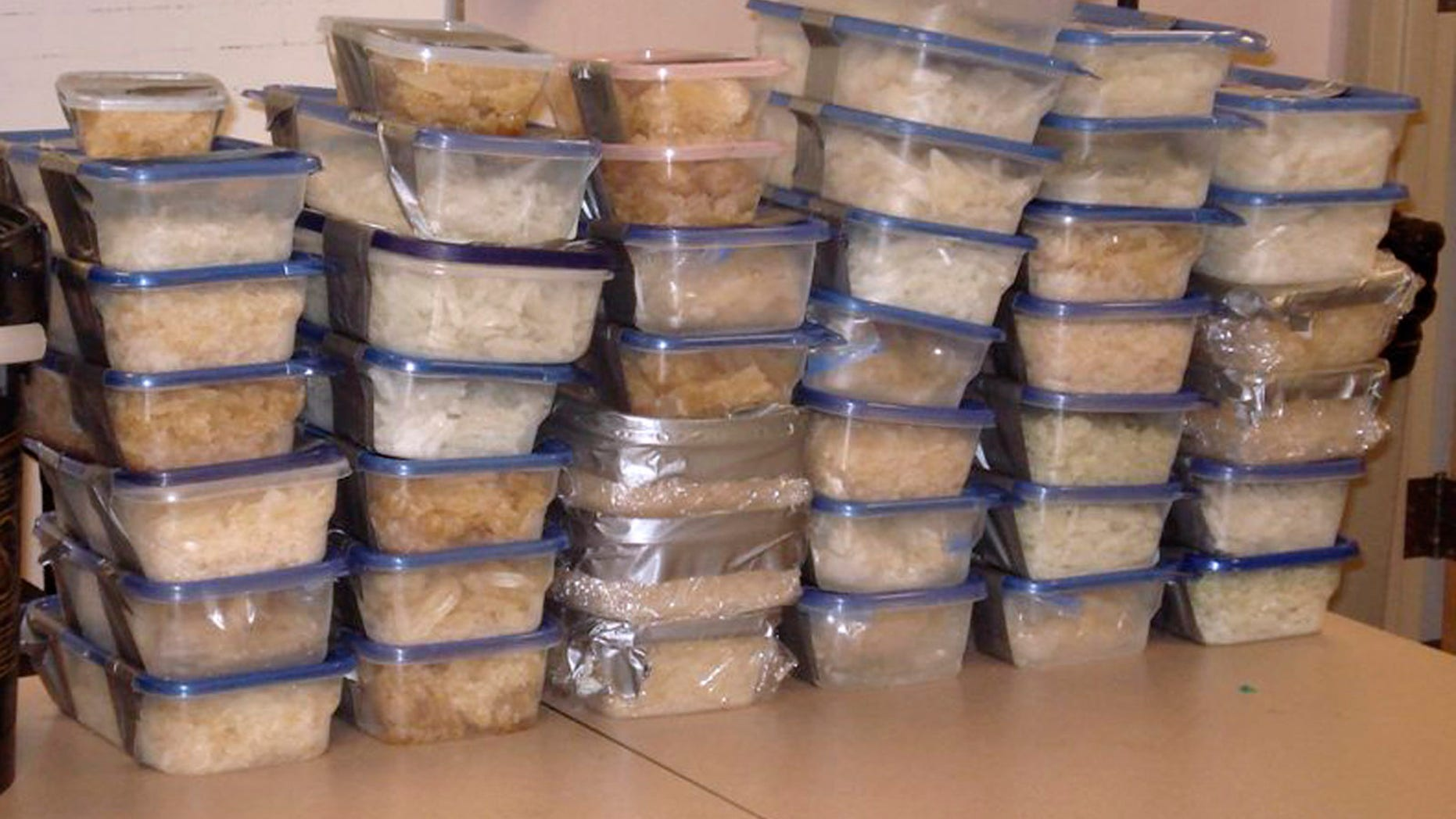 Some of the more than 900 pounds of methamphetamine seized by Gwinnett County, Ga., police is seen in an undated photo provided by the Gwinnett County, Ga., Police Department. Police say they raided a house in Norcross, Ga., Nov. 29 after being told a large amount of meth was being produced there.
