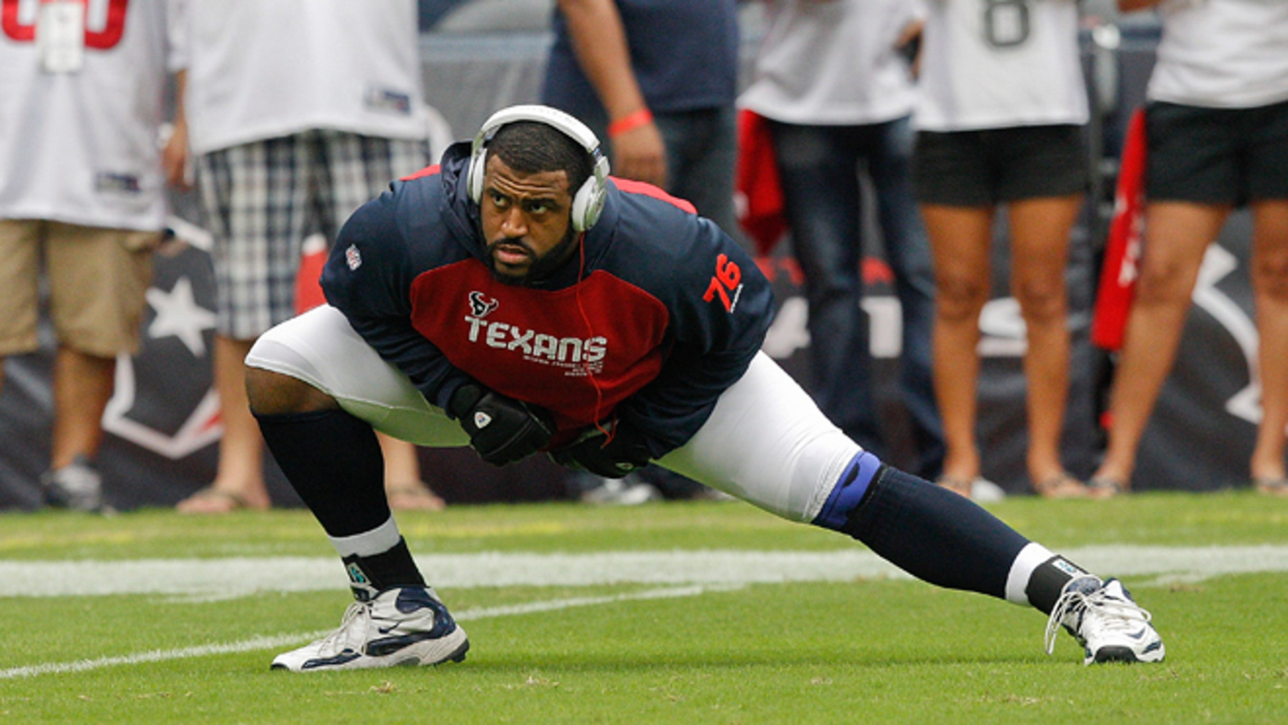 HOUSTON,TX - SEPTEMBER 09: Duane Brown #76 of the Houston Texans warms up prior to playing the Miami Dolphins during their season opener at Reliant Stadium on September 9, 2012 in Houston, Texas.  (Photo by Bob Levey/Getty Images)