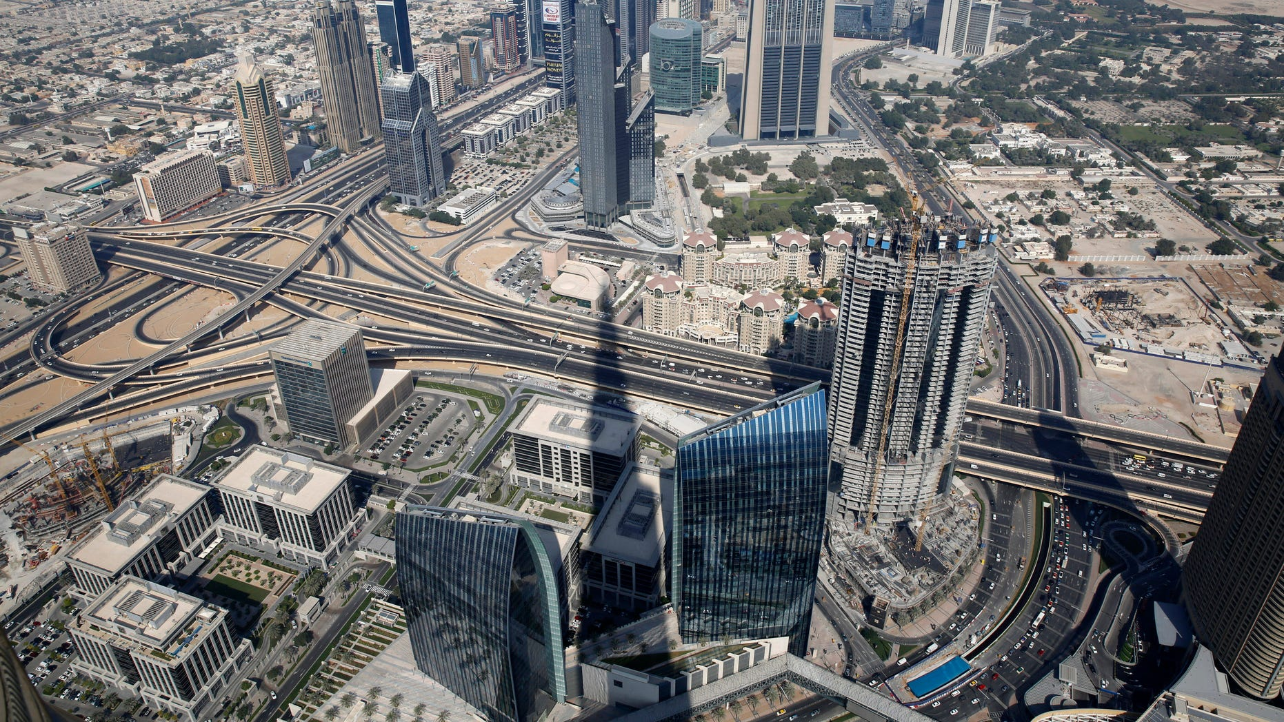 An aerial view of Dubai from Burj Khalifa, the tallest building in the world, in Dubai.