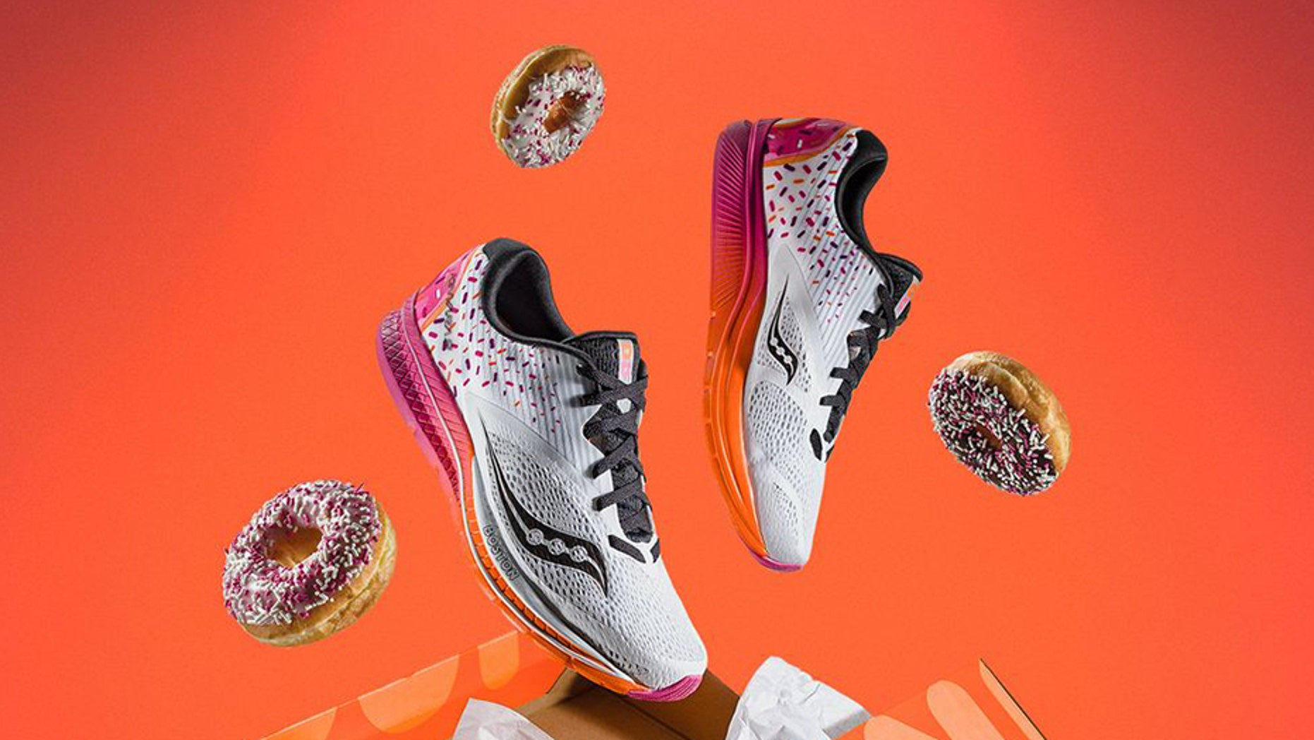 The Saucony X Dunkin' Kinvara 9 is the first-ever footwear collaboration between Saucony, which is celebrating its 120th anniversary this year, and the doughnut super-chain.