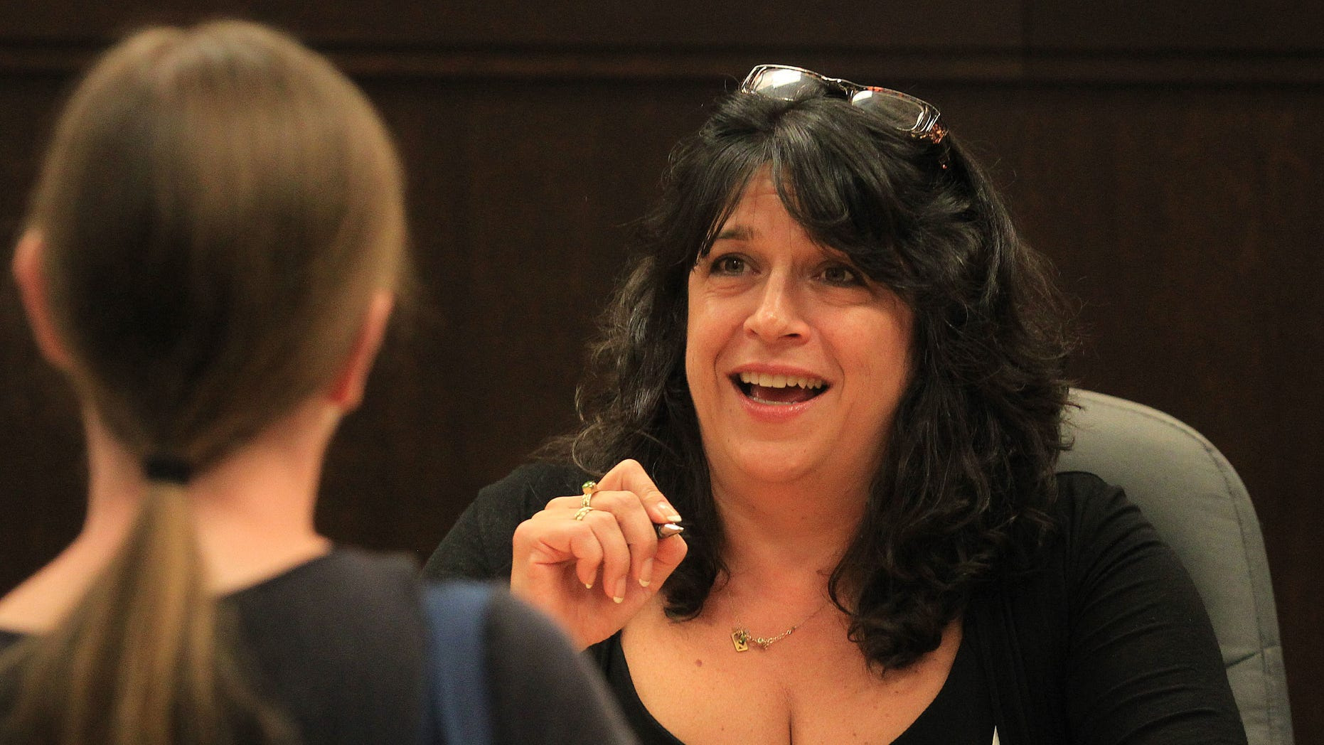 """LOS ANGELES, CA - SEPTEMBER 28:  Author E. L. James attends the E. L. James Book Signing For """"50 Shades Of Grey"""" at Barnes & Noble bookstore at The Grove on September 28, 2012 in Los Angeles, California.  (Photo by Frederick M. Brown/Getty Images)"""
