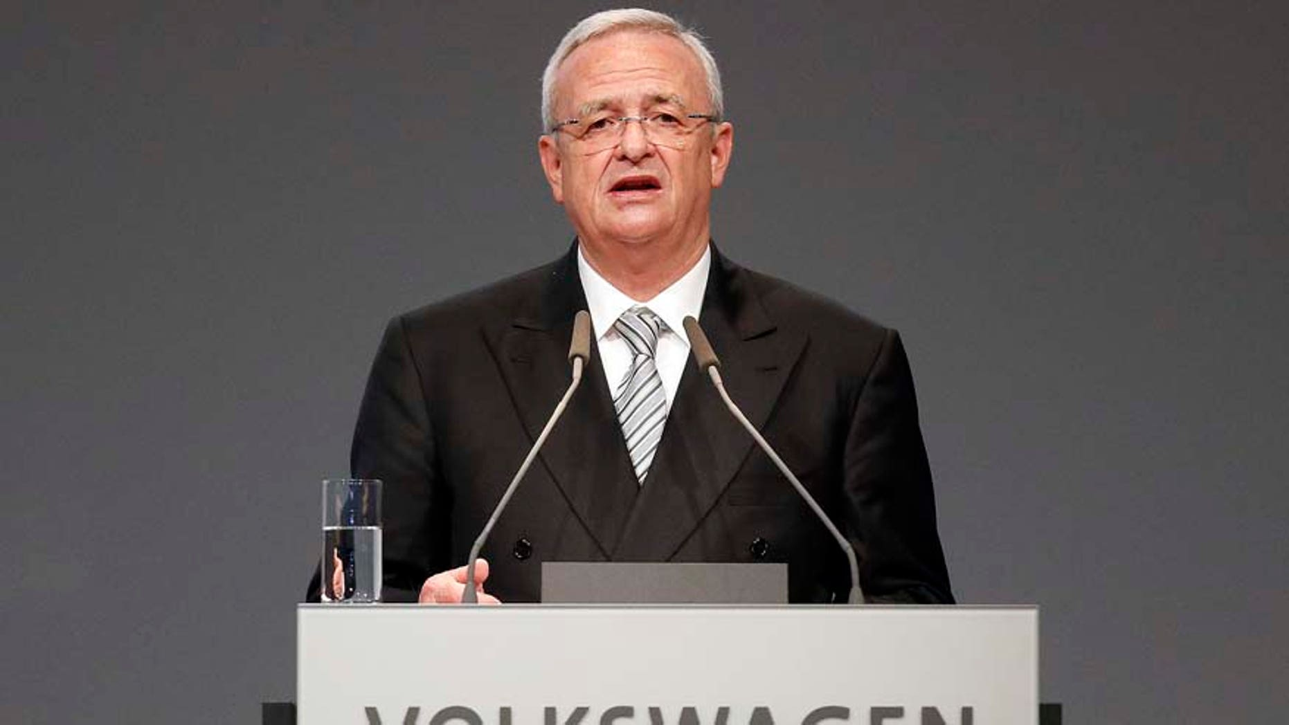 "FILE - In a Tuesday, May 5, 2015 file photo, Volkswagen CEO Martin Winterkorn addresses the shareholders during the annual shareholder meeting of the car manufacturer Volkswagen in Hannover, Germany. Winterkorn apologized Sunday, Sept. 20, 2015, after the Environmental Protection Agency said the German automaker skirted clean air rules by rigging emissions tests for about 500,000 diesel cars.  ""I personally am deeply sorry that we have broken the trust of our customers and the public,"" Volkswagen chief Martin Winterkorn said in a statement. (AP Photo/Frank Augstein, File)"