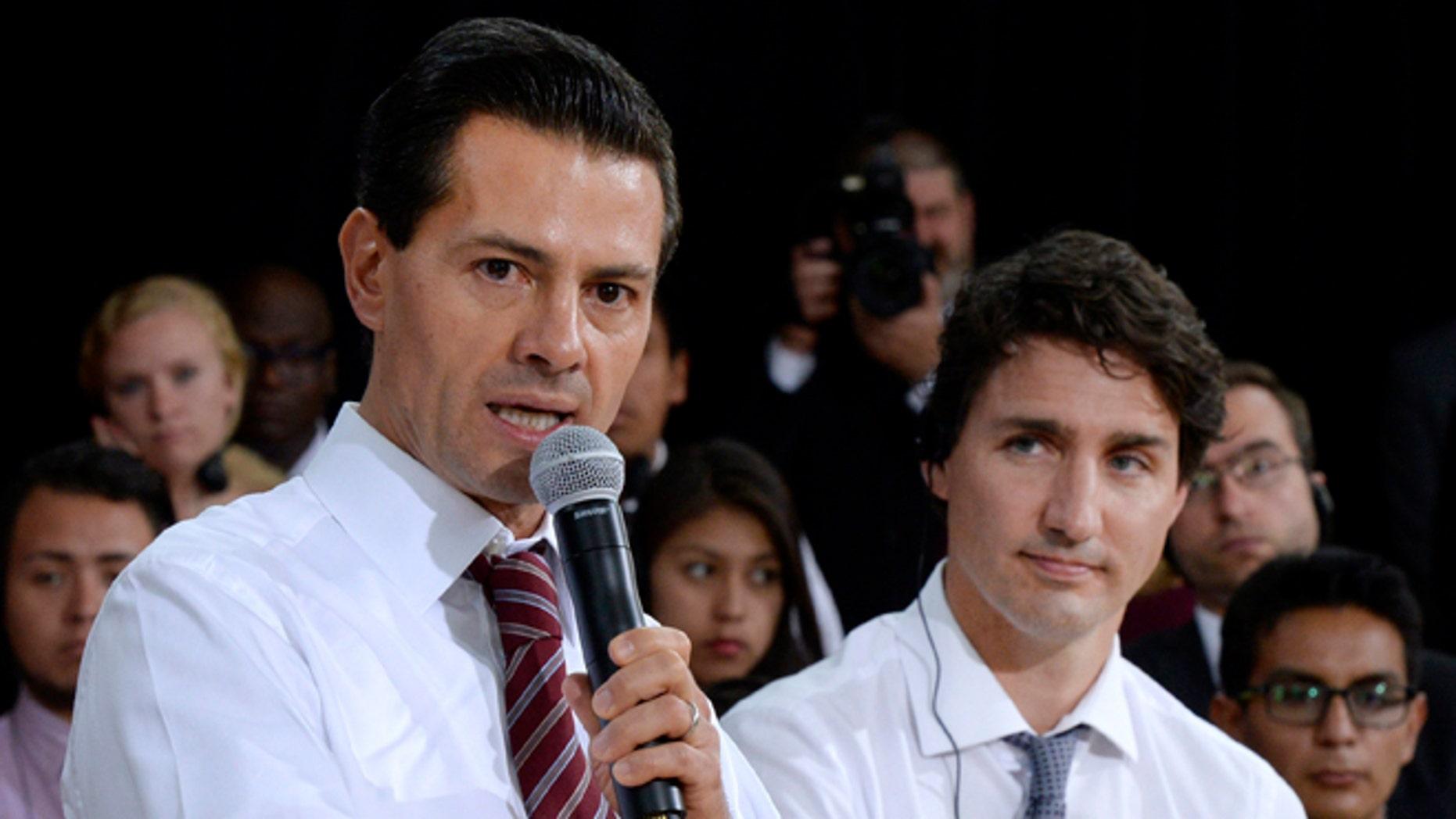 Mexico's President Enrique Pena Nieto and Canada's Prime Minister Justin Trudeau on June 28, 2016 in Ottawa.