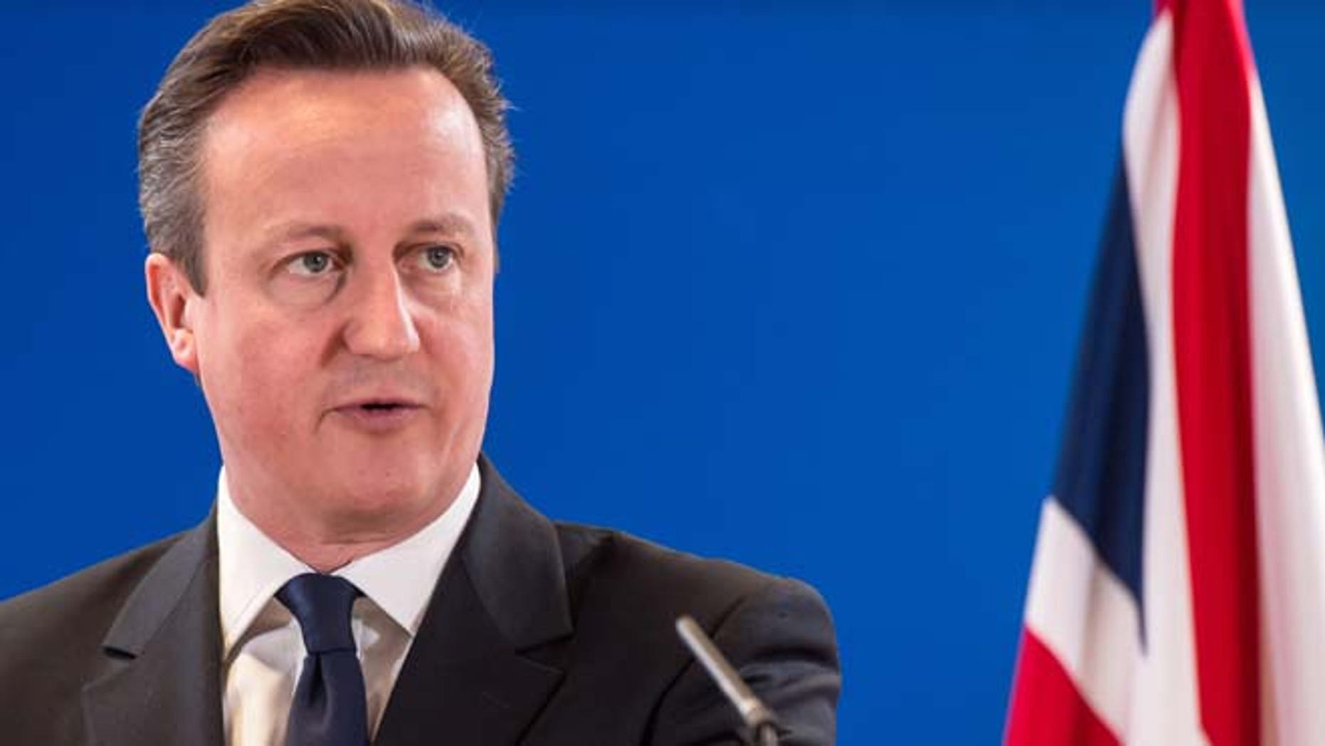 March 21, 2014: In this file photo, British Prime Minister David Cameron addresses members of the media at the end of an EU summit in Brussels. (AP)