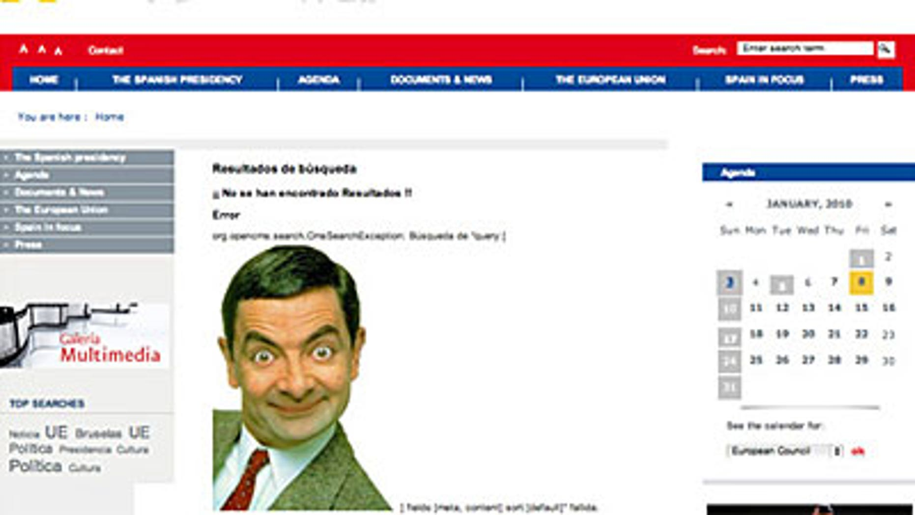 A smiling Mr Bean appeared briefly on Spain's European Union presidency Web site.