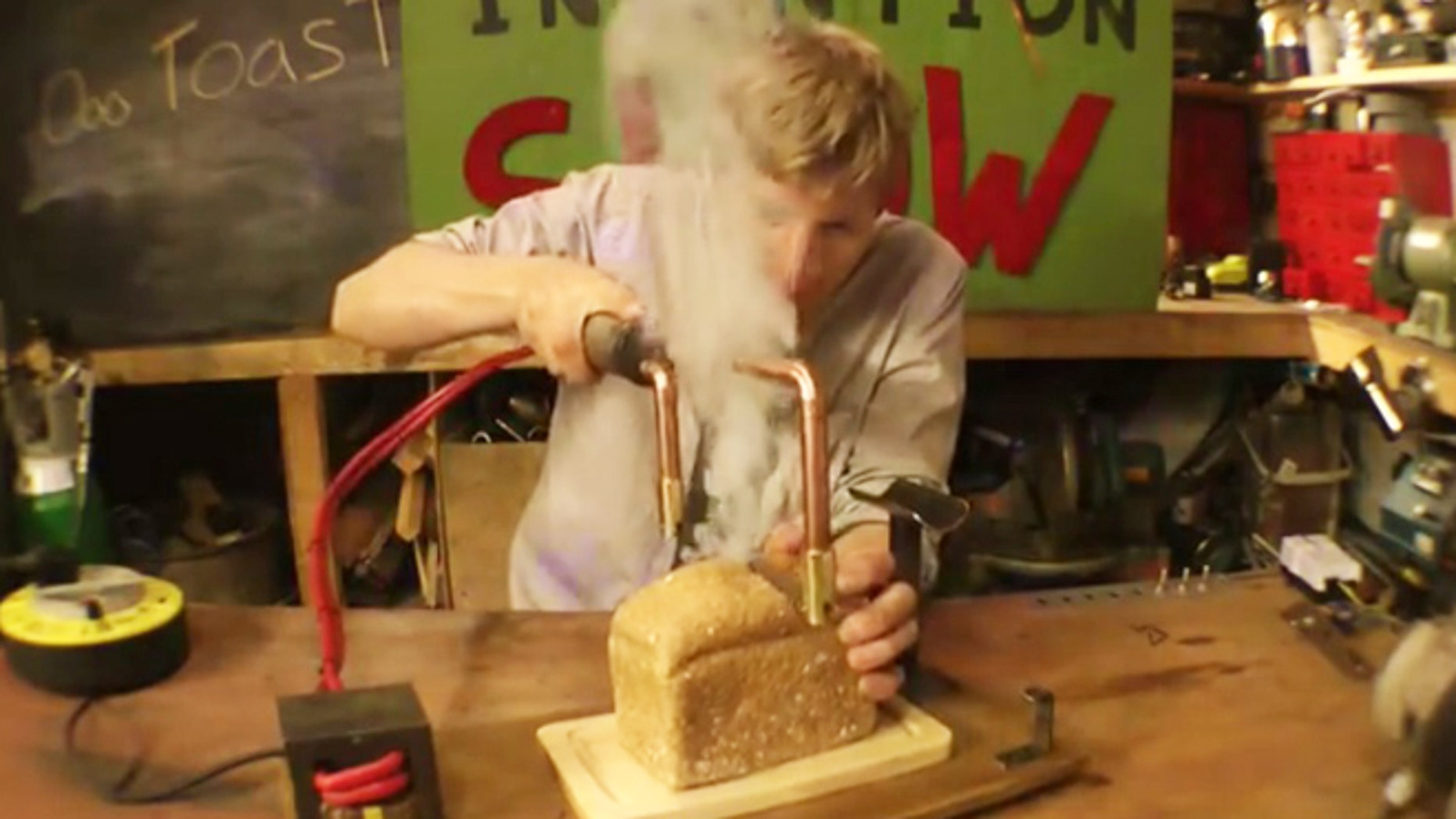 Get smokin' in the kitchen with this knife that toasts and slices bread at the same time.