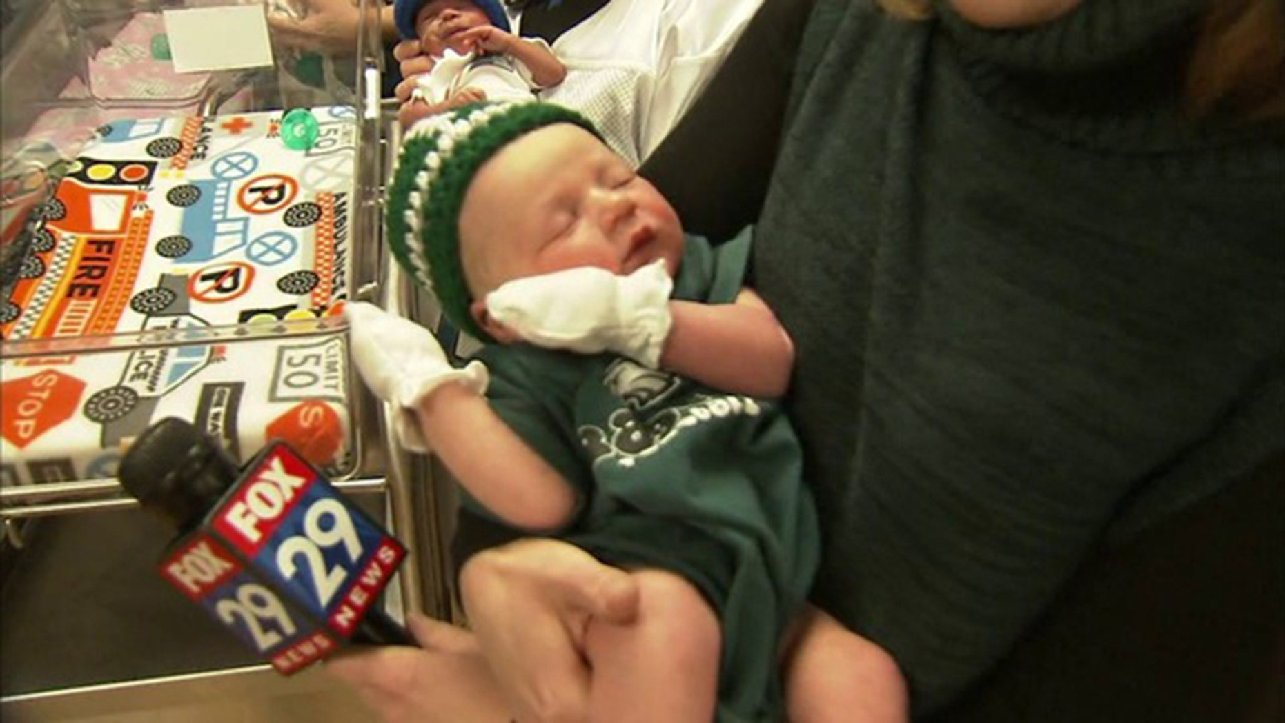 One of the world's newest Eagles fan attended a pep rally at Holy Redeemer Hospital in Pennsylvania.