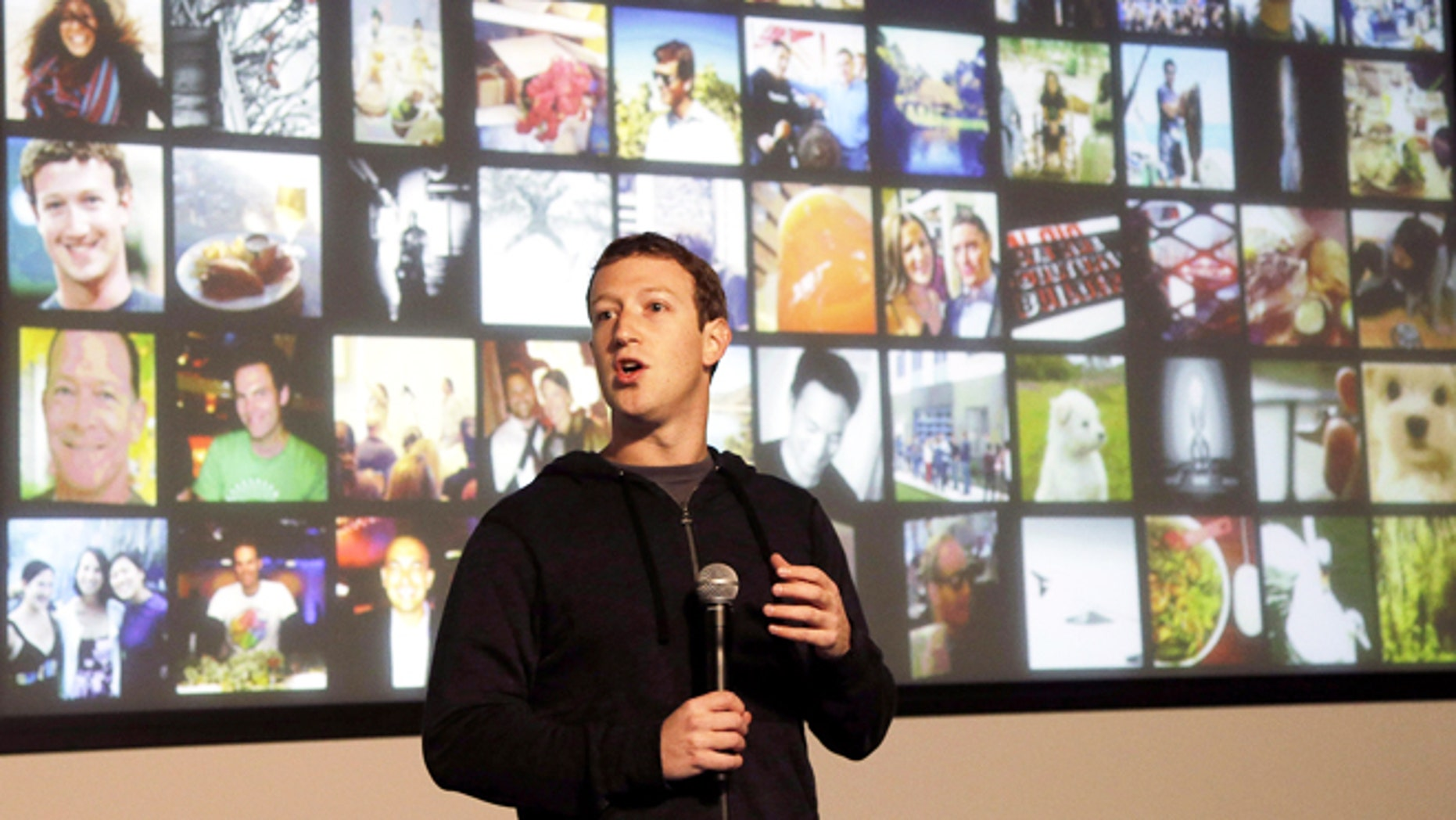 Jan. 15, 2013: Facebook CEO Mark Zuckerberg speaks at the company's headquarters in Menlo Park, Calif.