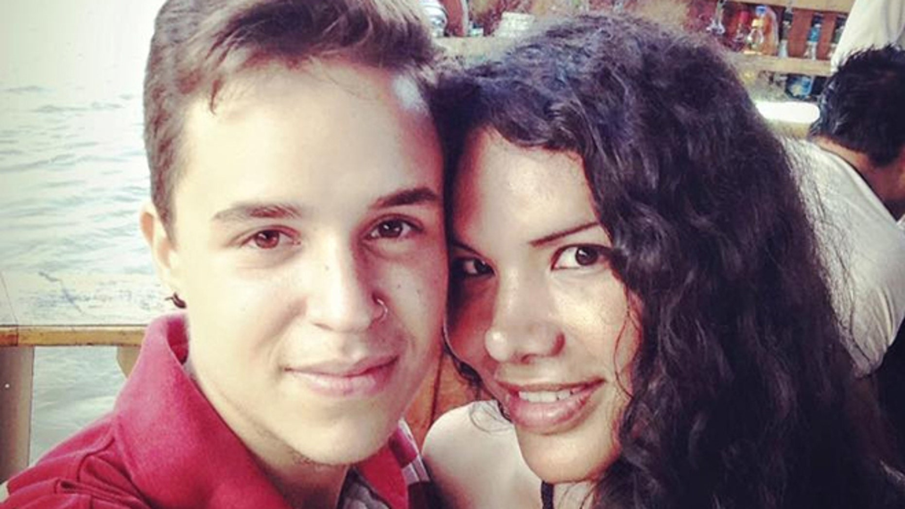 This Nov. 11, 2015 photo courtesy of Fernando Machado shows him, left, taking a selfie with his partner Diane Rodriguez in Guayaquil, Ecuador. The transgender couple announced on social media in December they were having a baby, believed to be the first pregnancy of its kind in South America. Rodriguez, who was born Luis, is one of Ecuadorâs most-prominent LGBT activists and says she and her Venezuelan-born partner, whose birth name was Maria, decided to publicize the pregnancy to help change attitudes in the staunchly Roman Catholic society. (Fernando Machado via AP)