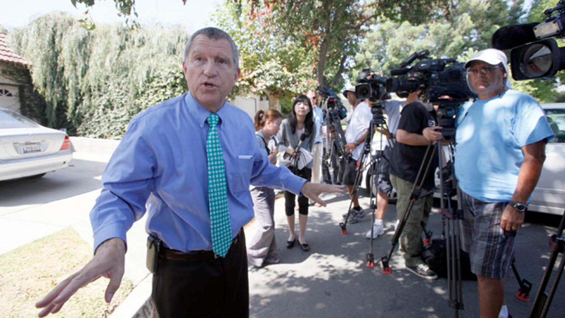 Sept. 13, 2012: Los Angeles Sheriff's Department spokesman Steve Whitmore speaks to media outside the home of Nakoula Basseley Nakoula in Cerritos, Calif.