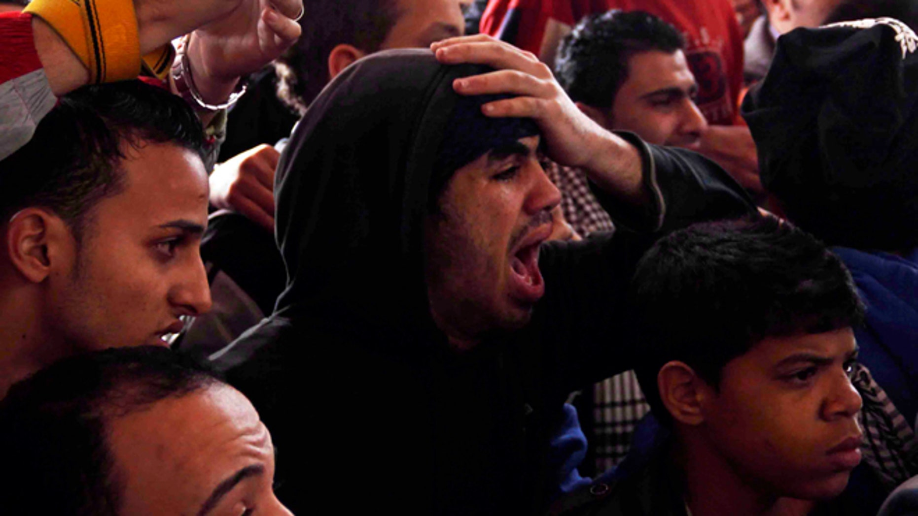 Jan. 26: Families and supporters of those accused of soccer violence from the Port Said soccer club react to the announcement of verdicts for 21 fans on trial in last years Port Said stadium incident which left 74 people dead, in Port Said, Egypt.