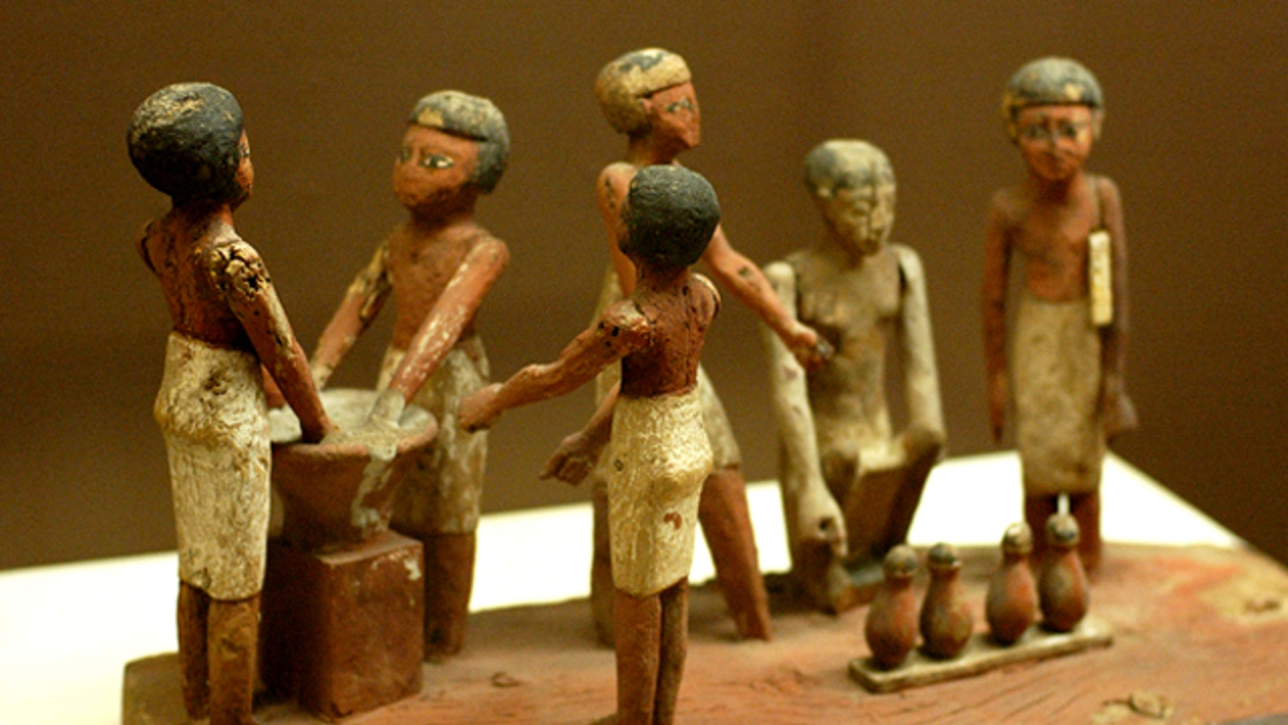 An Egyptian wooden model of beer making in ancient Egypt, located at the Rosicrucian Egyptian Museum in San Jose, California.