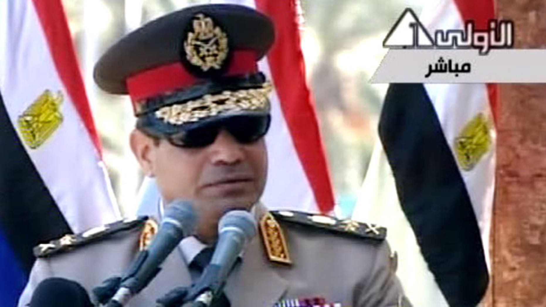 July 24, 2013: In this image taken from Egypt State TV, Egyptian Defense Minister Gen. Abdel-Fattah el-Sissi delivers a speech in Cairo, Egypt.