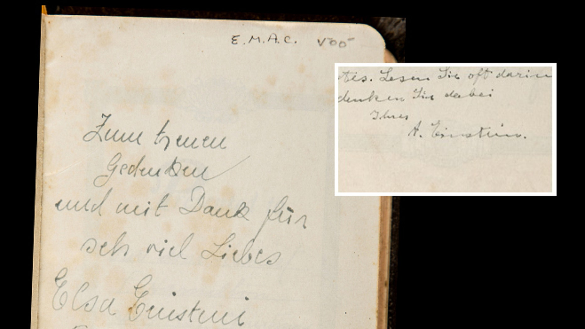 A Bible with an inscription from Albert Einstein was sold at auction by Bonhams in New York City for $68,500. The Bible's final price far exceeds its pre-sale estimate of between $1,500 and $2,500.