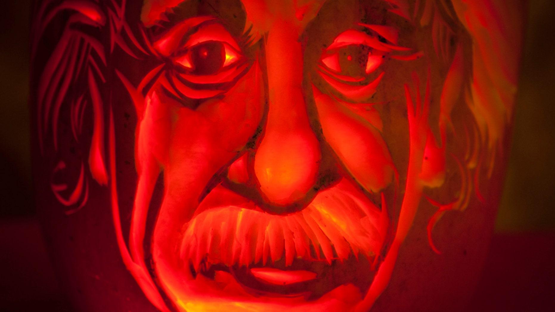 An Albert Einstein pumpkin is pictured at Madame Tussauds in New York, Oct. 22, 2013.