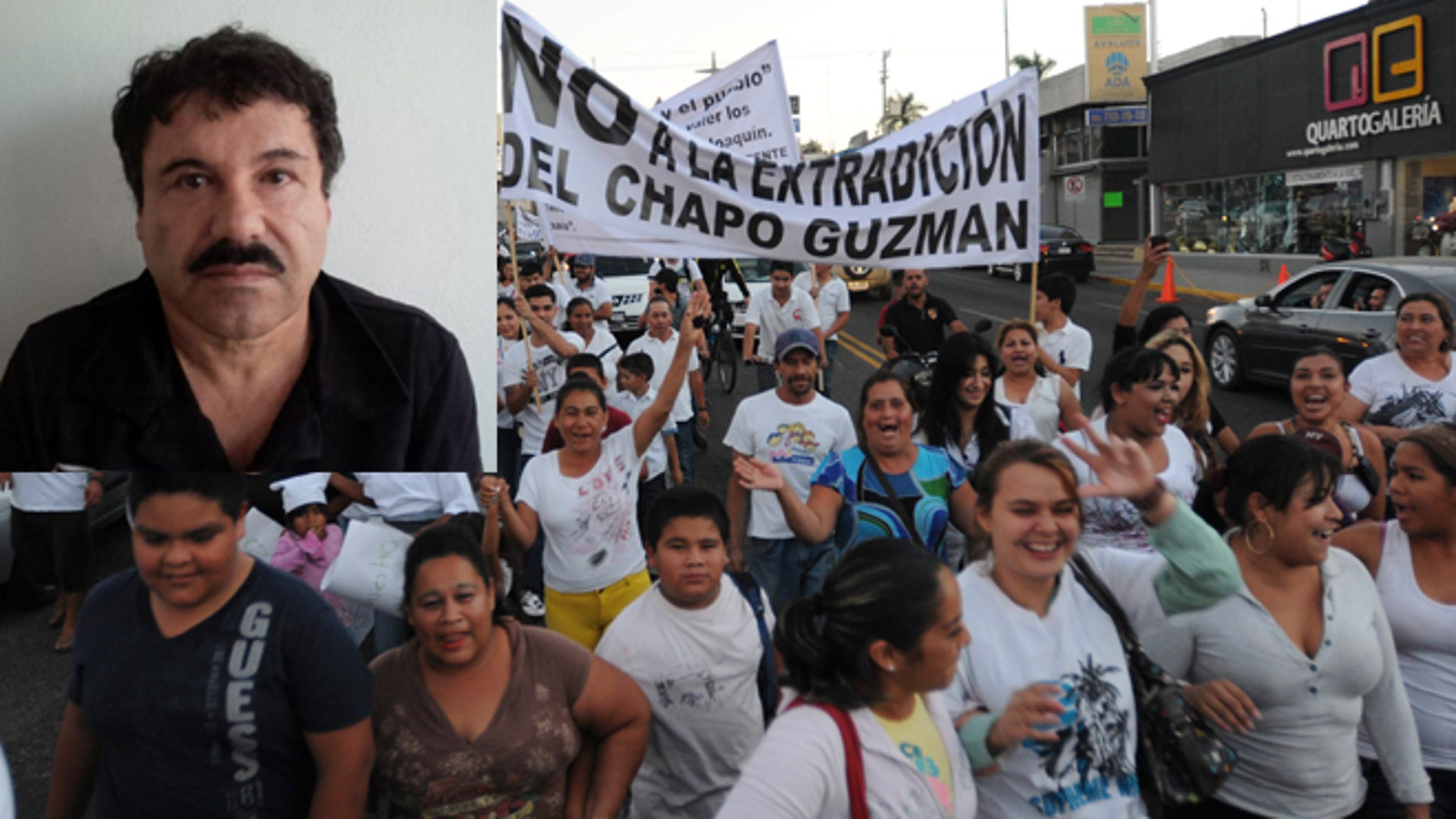"""People march in support of jailed drug boss Joaquin Guzman Loera, """"El Chapo"""" (pictured top left) in the city of Culiacan, Mexico, Wednesday, Feb. 26, 2014.  (AP Photo/El Debate de Culiacan-Jonathan Telles)"""