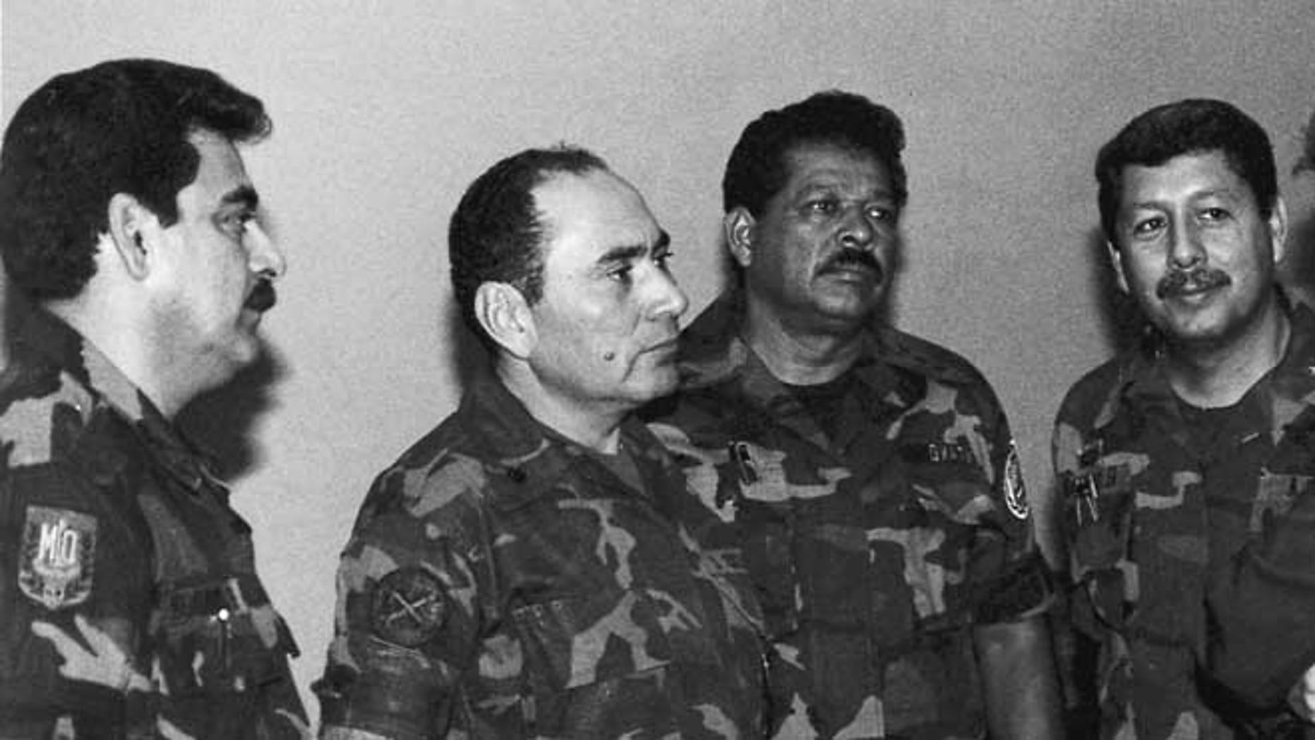 Colonels Rene Emilio Ponce, Rafael Humberto Larios, Inocente Orlando Montano and Juan Orlando Zepeda in July 1989.