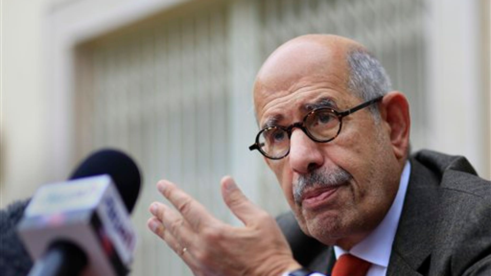 Feb. 4: Egyptian pro-democracy advocate Mohamed ElBaradei, former chief of the UN nuclear watchdog agency and Egypt's reformist leader, talks during a press conference in Cairo, Egypt. (AP)