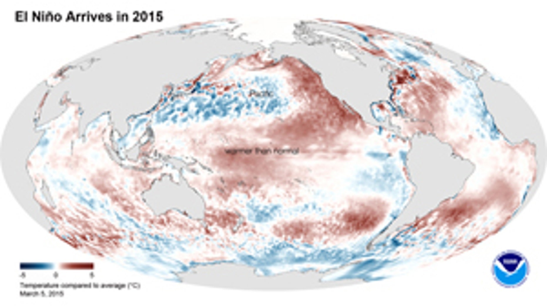 This image shows the average sea surface temperature for February 2015 as measured by NOAA satellites. The large area of red (warmer than average) can be seen extending through the equatorial Pacific.