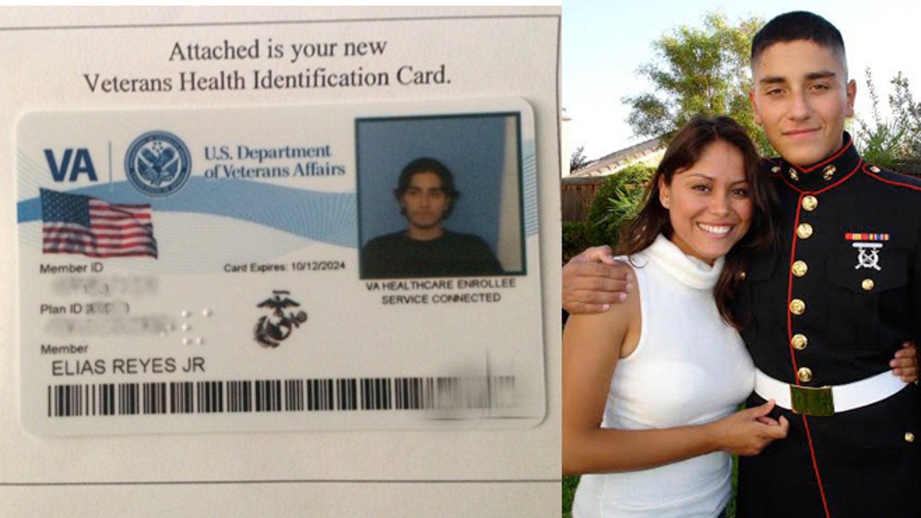 (Left) The Veterans Health Identification Card issued to Corporal Elias Reyes Jr.. (Right) It was sent to his sister Margarita Reyes on Tuesday, October 28th. Elias died on April 12th of this year.