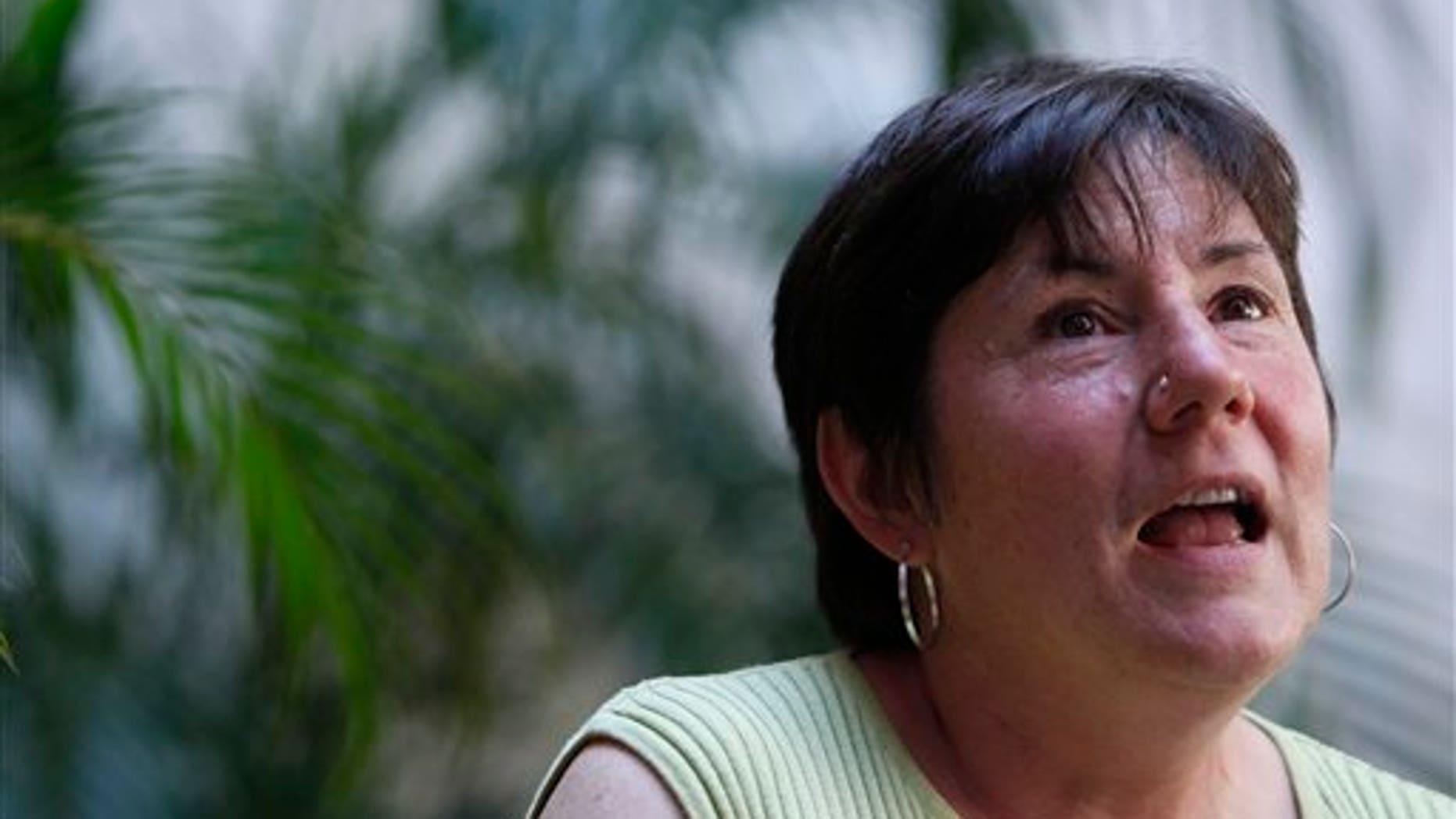 Elizabeth Martin, of Massachusetts, speaks about her late nephew Joseph Martin in Rio de Janeiro, Brazil.