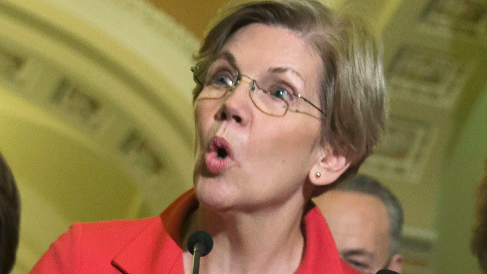Nov. 13, 2014: Sen. Elizabeth Warren, D-Mass., speaks during a news conference on Capitol Hill in Washington, after Senate Democrats voted on leadership positions for the 114th Congress.