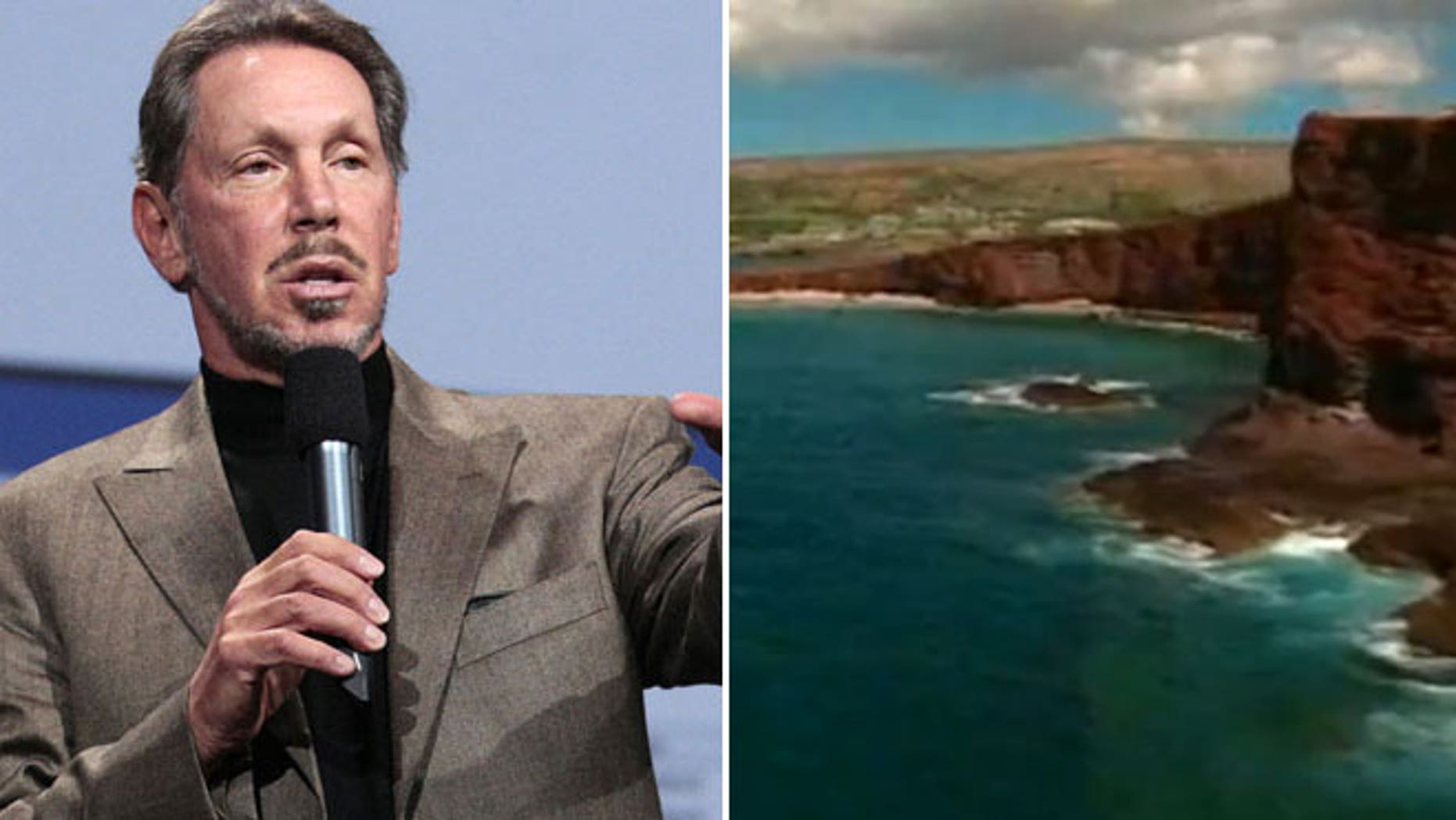 Oracle CEO Larry Ellison, left, and the Hawaiian Island Lanai.
