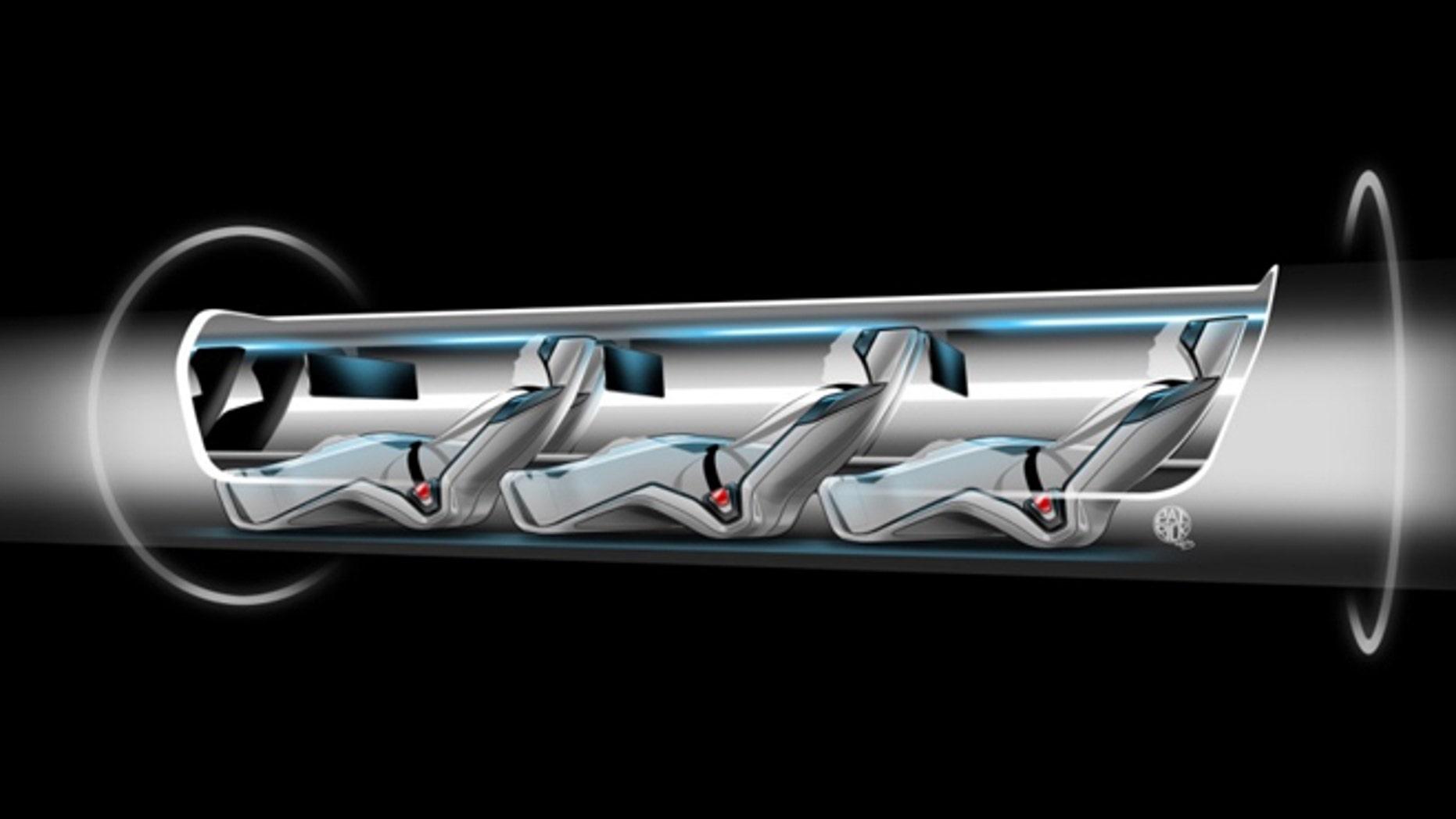 Aug. 12, 2013: An artist's concept of Elon Musk's Hyperloop passenger capsule, cutaway to show passengers onboard.