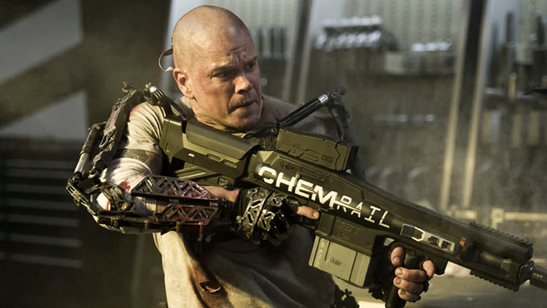 "This film publicity image released by TriStar, Columbia Pictures-Sony shows Matt Damon in a scene from ""Elysium."""