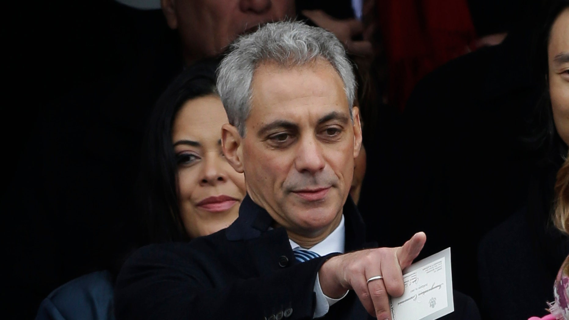 FILE:  Jan. 21, 2013: Chicago Mayor Rahm Emanuel at the swearing-in of President Obama at the U.S. Capitol in Washington, D.C.
