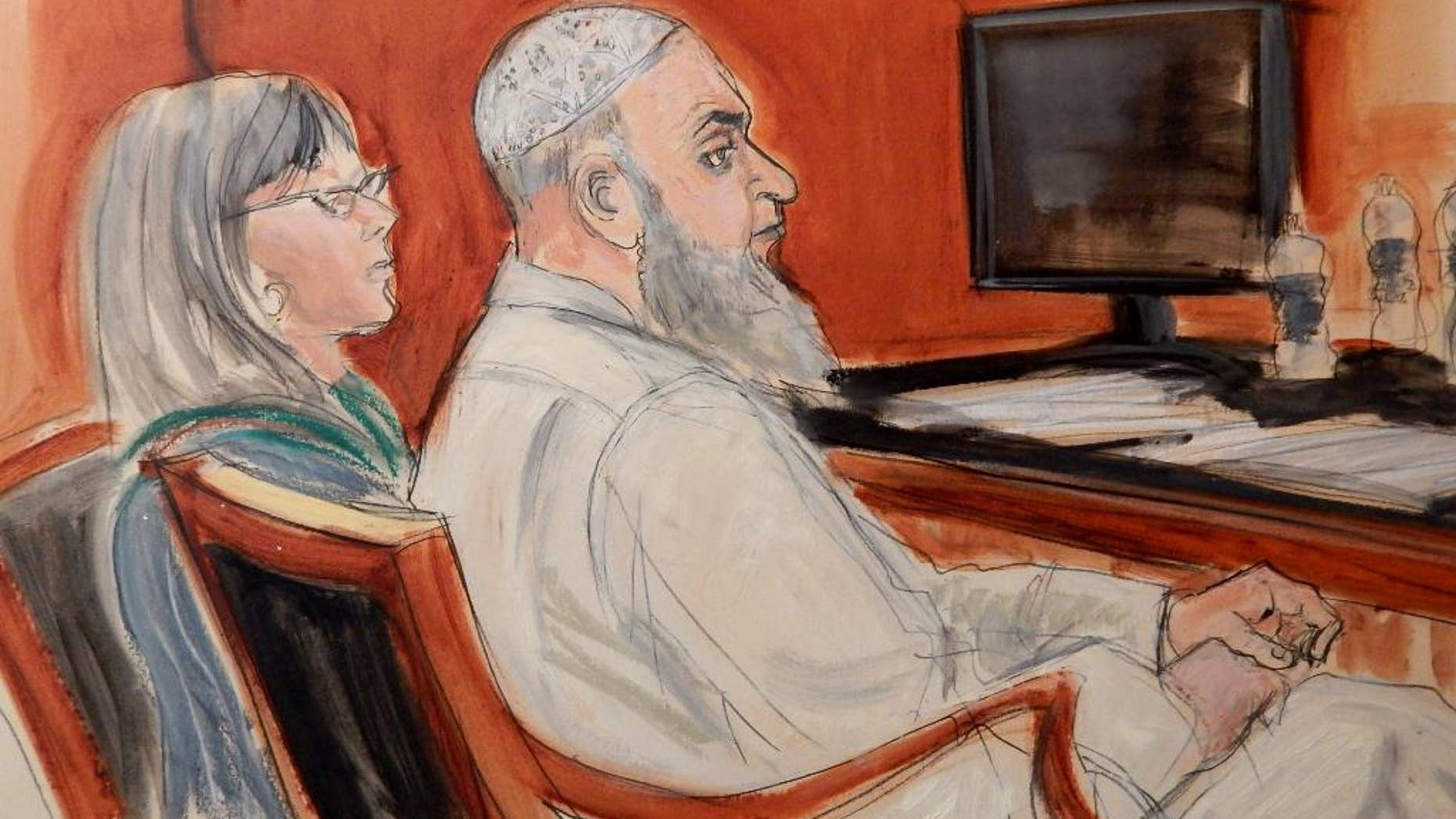 FILE - In this Jan. 20, 2015, file courtroom sketch, Khaled al-Fawwaz, right, a defendant in the 1998 bombings of the U.S. embassies in Kenya and Tanzania that killed 224 people, is seated next to his defense attorney, Barbara O'Connor, during jury selection in Manhattan Federal Court. Al-Fawwaz was convicted Thursday, Feb. 26, 2015, of conspiracy in the bombings of the two embassies. (AP Photo/Elizabeth Williams, File)