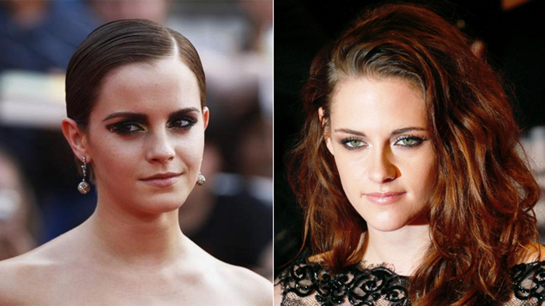 Emma Watson, left, and Kristen Stewart, right.