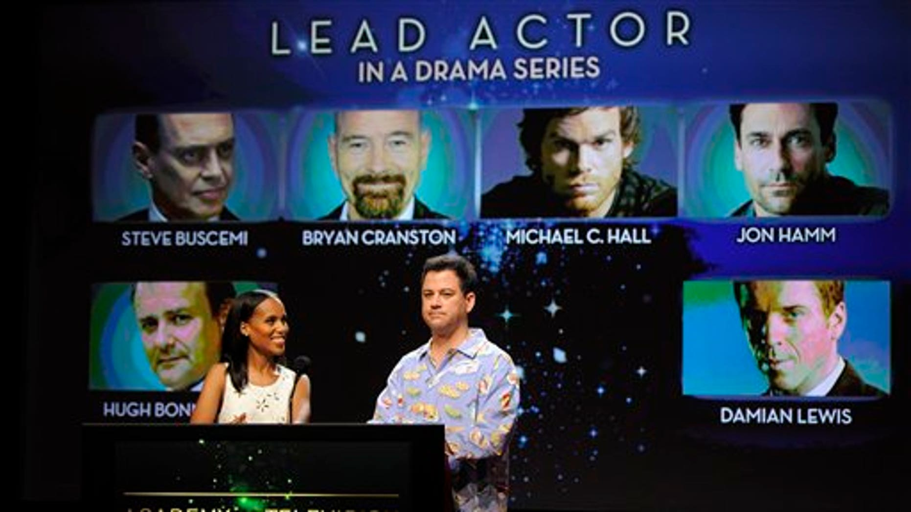 Actress Kerry Washington, left, and comedian Jimmy Kimmel announce the nominees for Lead Actor in a Drama Series during the nominations for the 64th Primetime Emmy Awards at the Academy of Television Arts & Sciences in Los Angeles, Thursday, July 19, 2012. The 64th annual Primetime Emmy Awards will be presented Sept. 23 at the Nokia Theatre in Los Angeles, hosted by Jimmy Kimmel and airing live on ABC. (Photo by Chris Pizzello/Invision/AP)