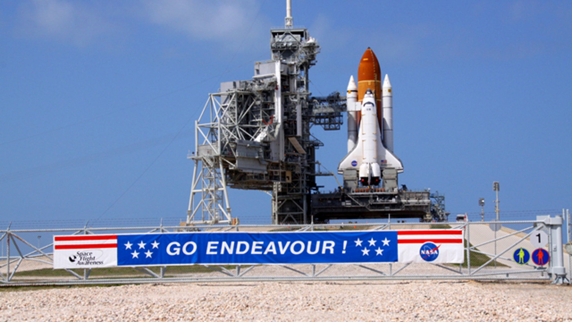 Space shuttle Endeavour glistens in the sun on Launch Pad 39A at NASA's Kennedy Space Center in Florida. The shuttle is launching on its final mission, STS-134, on April 29, 2011.