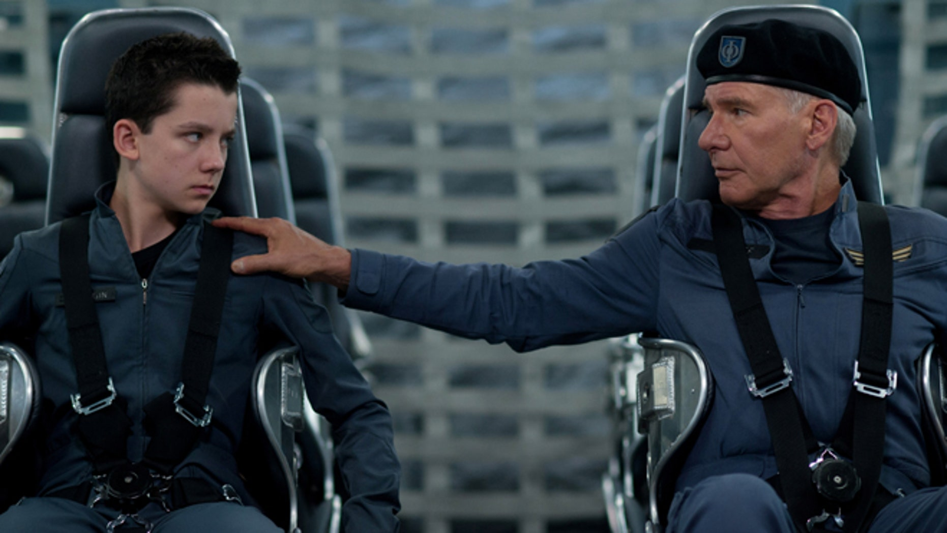 """This image released by Summit Entertainment shows Asa Butterfield, left, and Harrison Ford in a scene from """"Ender's Game."""""""