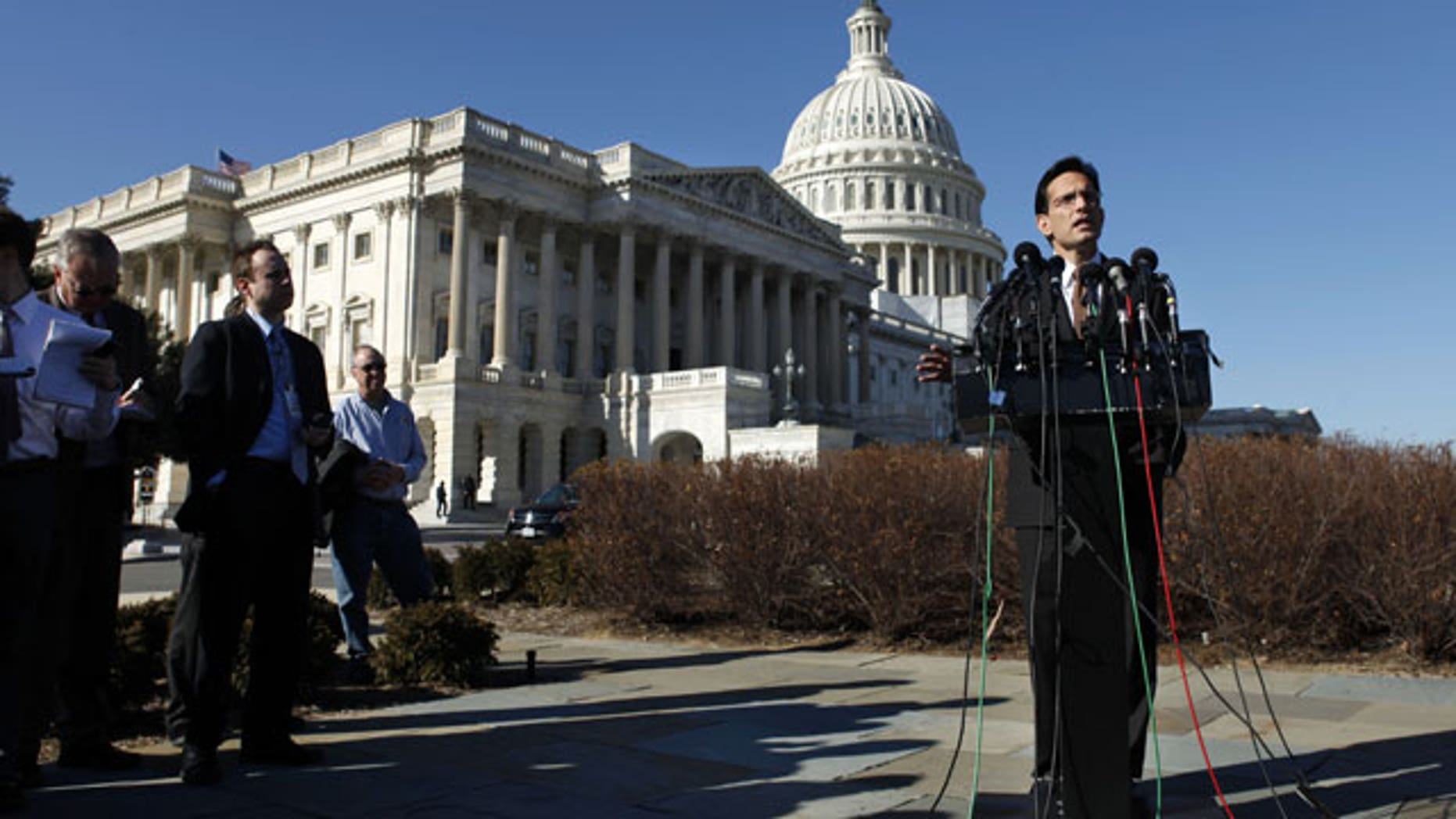 January 31, 2012: House Majority Leader Eric Cantor of Va., speaks during a news conference on Capitol Hill in Washington to discuss the Stop Trading on Congressional Knowledge Act, or STOCK Act.
