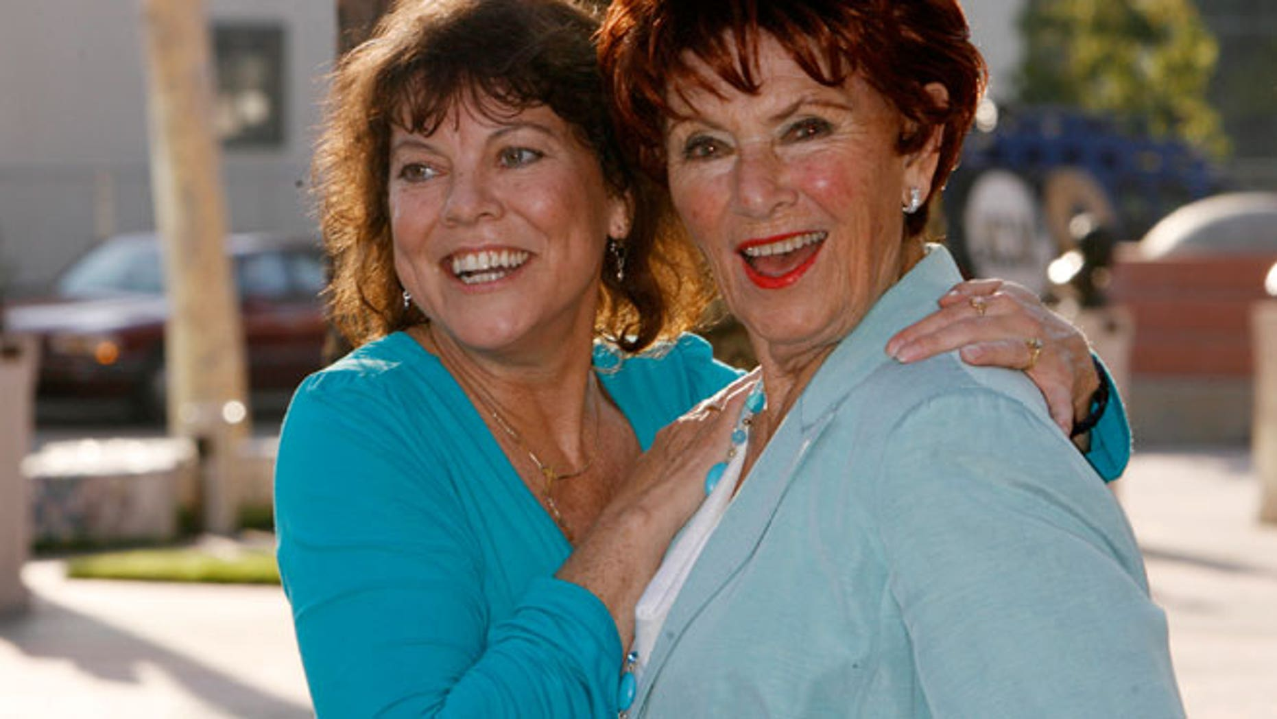 """FILE: In 2009, actresses Erin Moran and Marion Ross  at """"A Father's Day Salute to TV Dads"""" in Los Angeles."""