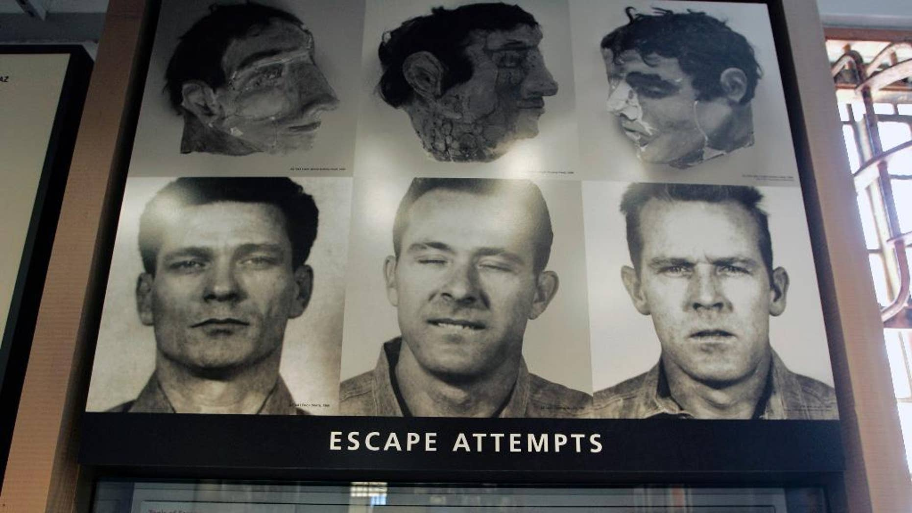 """FILE - In this April 24, 2007, file photo, an exhibit about a 1962 prison escape made famous in the movie, """"Escape from Alcatraz,"""" is displayed in the museum store on Alcatraz Island in San Francisco. Scientists say the three prisoners who escaped from Alcatraz in one of the most famous and elaborate prison breaks in U.S. history could have survived and made it to land. Using software to study currents the night of the 1962 escape, three Dutch scientists concluded the three men could have made it to land north of the Golden Gate Bridge if they left between 11:30 p.m. and midnight.  Prison officials and federal agents insisted at the time that the inmates perished, but their bodies were never found.(AP Photo/Eric Risberg, File)"""