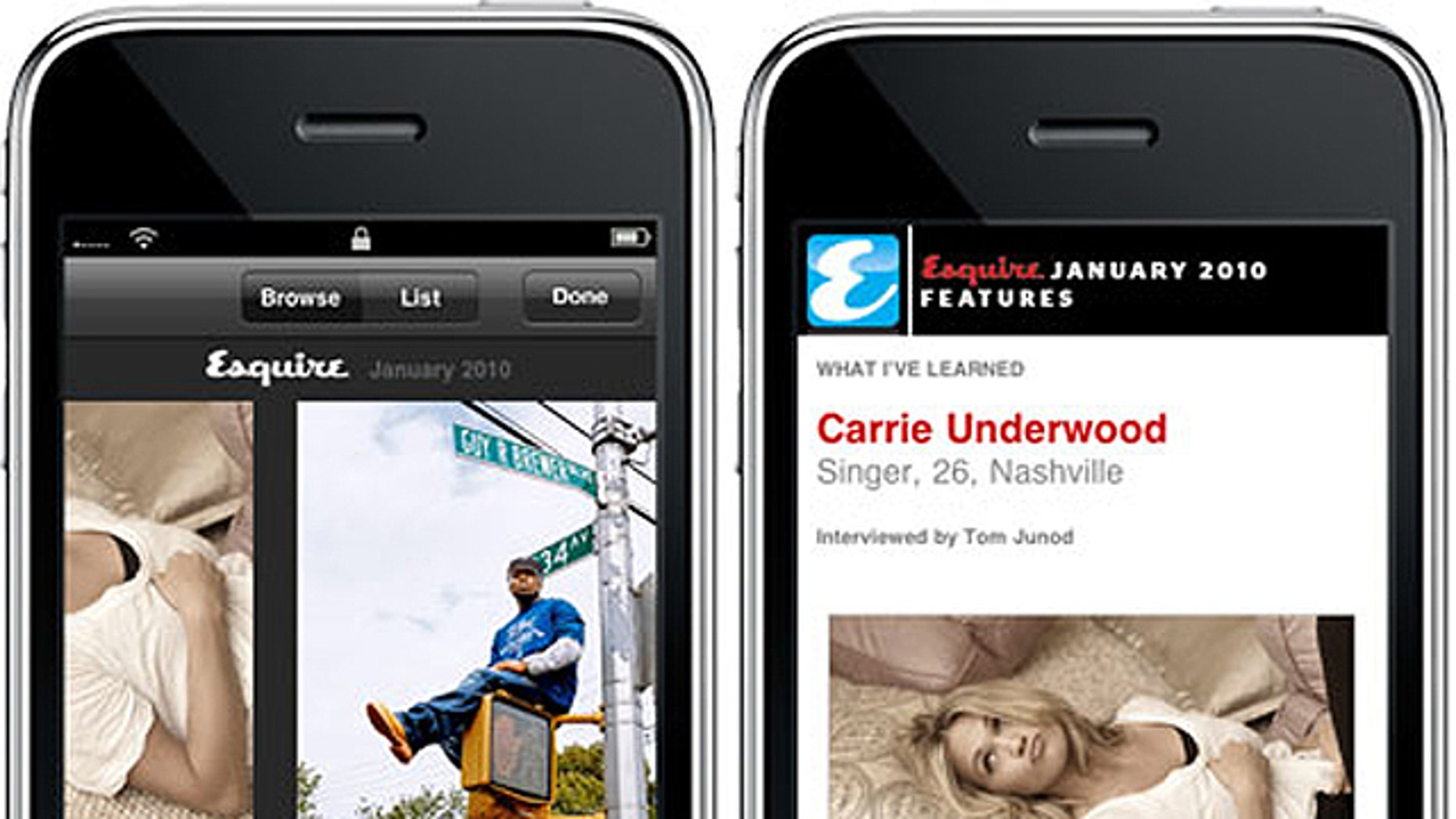 A demonstration of Esquire's iPhone app is spotlighted on Next Media's website -- even though it appears the company is targeting Android smartphones first.