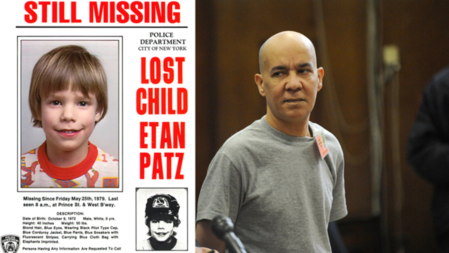 Etan Katz missing person's poster in 1979 (right) and his accused killer Pedro Hernandez (left).