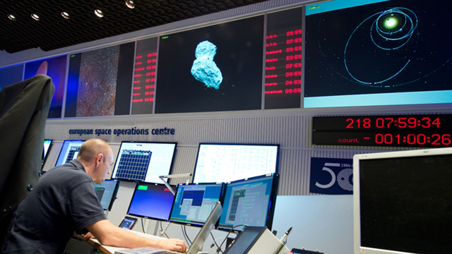 August 6, 2014: An expert watches his screens at the control center of the European Space Agency in Darmstadt, Germany. A mission to land the first space probe on a comet reaches a major milestone when the unmanned Rosetta spacecraft finally catches up with its quarry on Wednesday. (AP Photo/dpa, Boris Roessler)