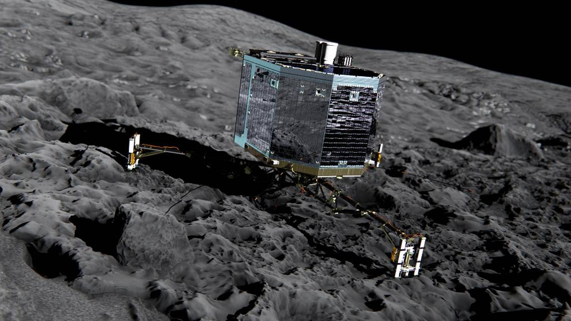 This artist impression  from  Dec. 2013  by ESA /ATG medialab ,  publicly provided by the European Space Agency,  ESA, shows Rosetta's lander Philae (front view) on the surface of comet 67P/Churyumov-Gerasimenko. The comet lander Philae has awakened from a seven-month hibernation and managed to communicate with Earth for more than a minute, the European Space Agency said Sunday June 14, 2015. The probe became the first spacecraft to land on a comet when it touched down on the icy surface of 67P/Churyumov-Gerasimenko in November. Shortly after its historic landing, Philae managed to conduct experiments and send data to Earth for about 60 hours before its batteries were depleted and it was forced into hibernation. (ESA/ATG medialab/ESA  via AP)