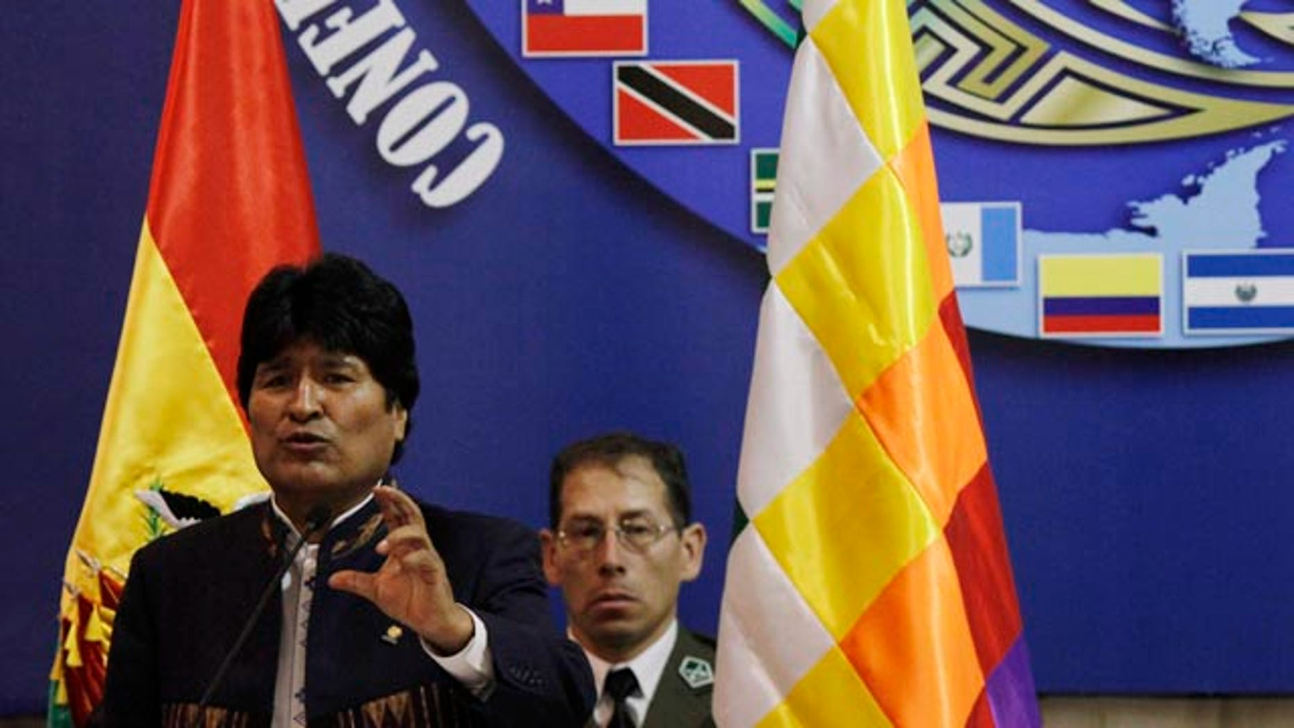 Nov. 22: Bolivia's president Evo Morales speaks during the opening of the Ninth Conference of Defense Ministers of the Americas (CDMA) in Santa Cruz, Bolivia.