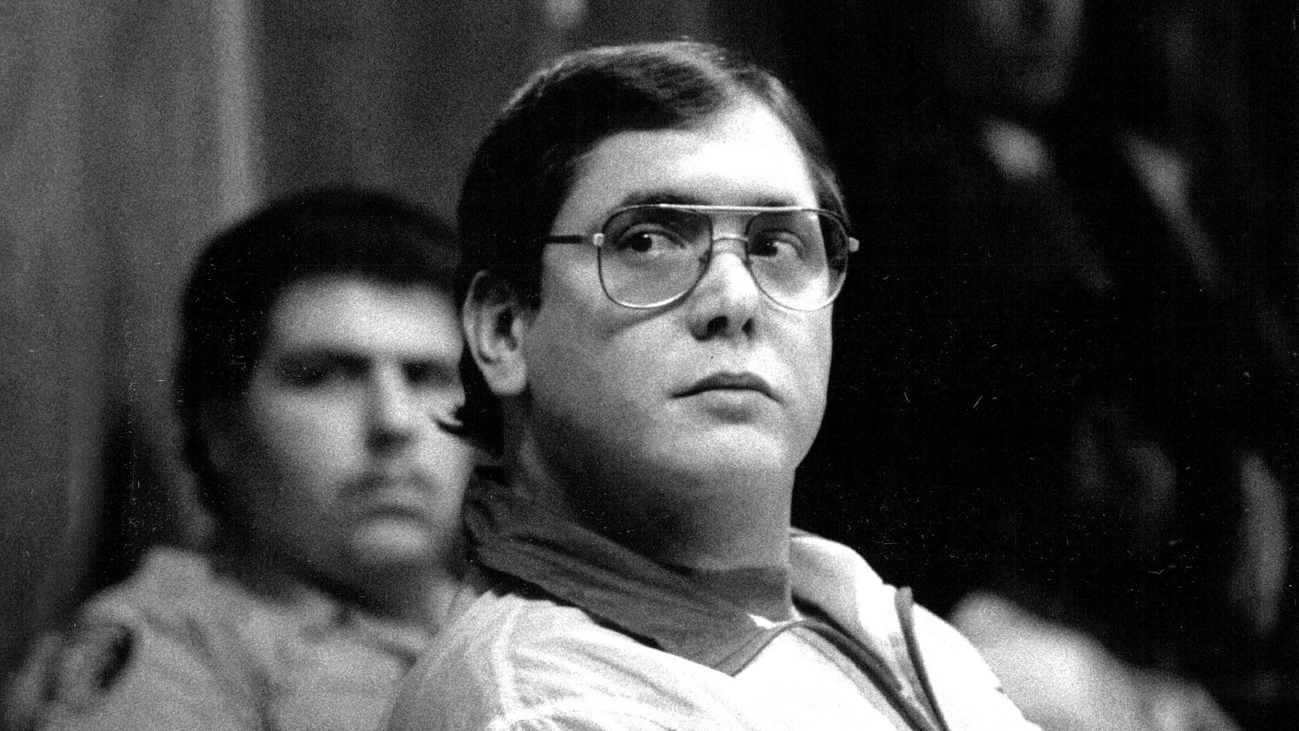In a 1988 photo, Manuel Pardo listens as his sentence is read; he was found guilty of nine counts of murder.